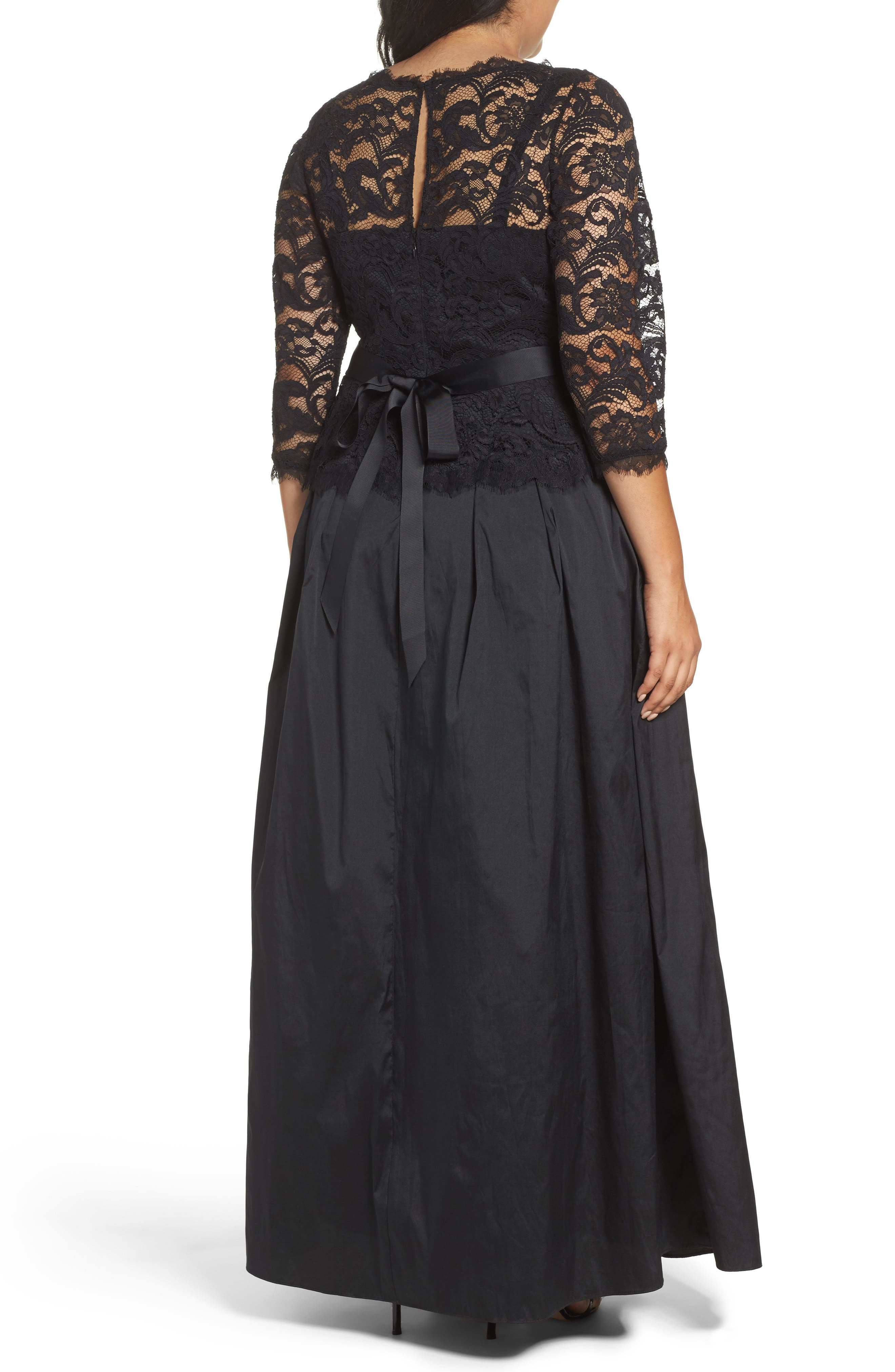 Alternate Image 2  - Adrianna Papell Nouveau Scroll Illusion Lace Gown (Plus Size)