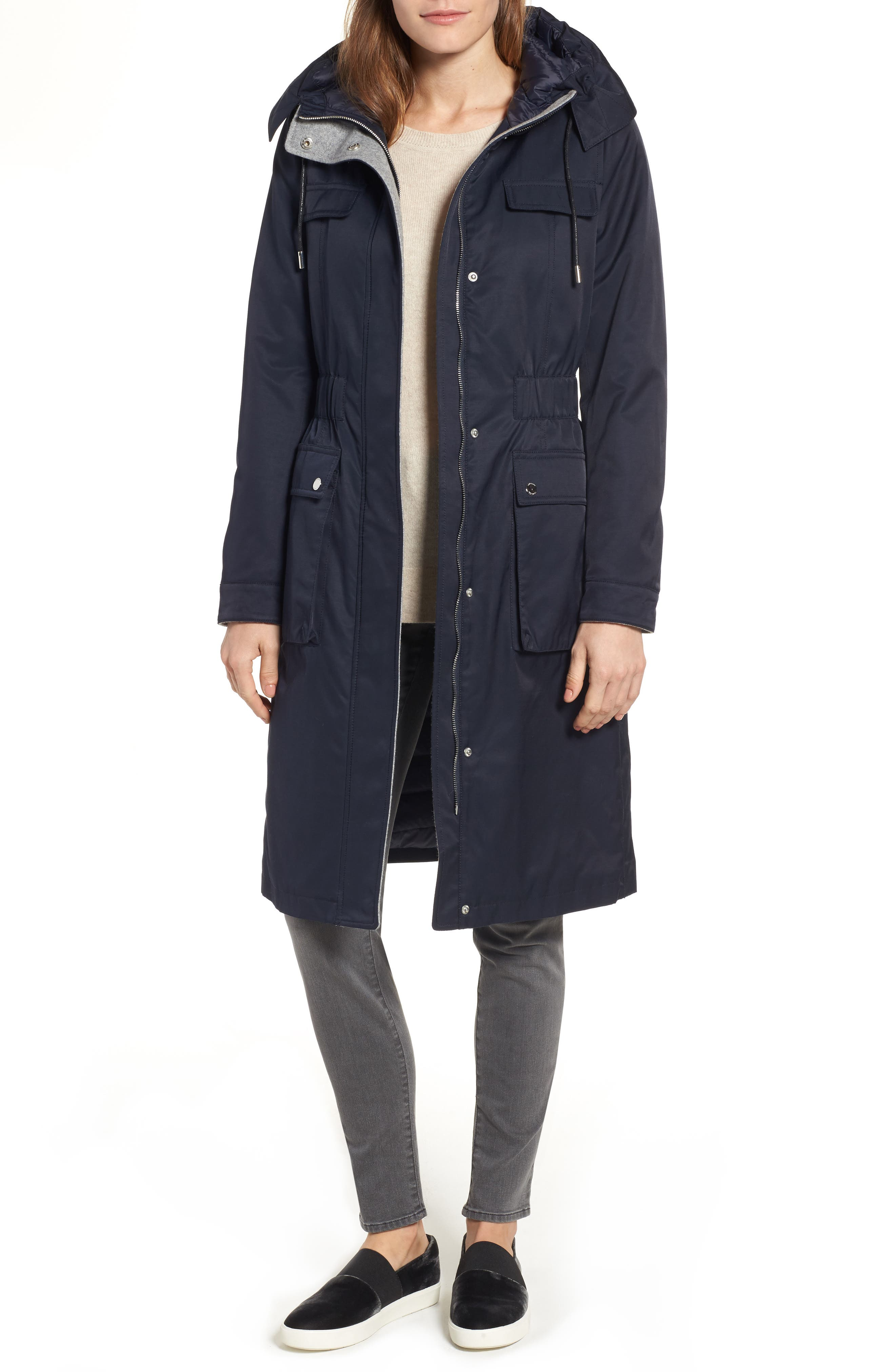 Laundry by Shelli Segal Cotton Blend Long Utility Trench Coat