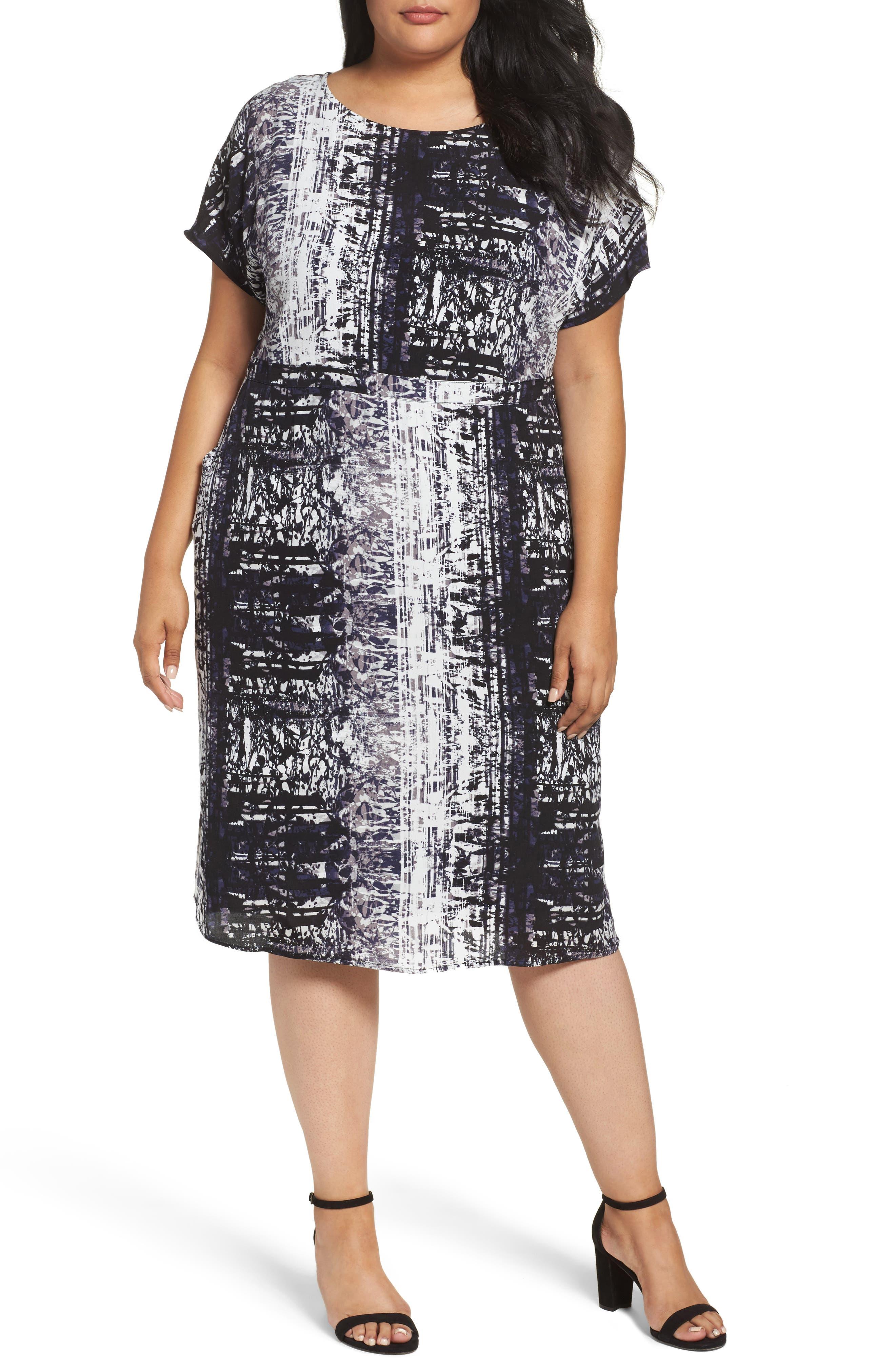Sejour Dolman Sleeve Shift Dress (Plus Size)