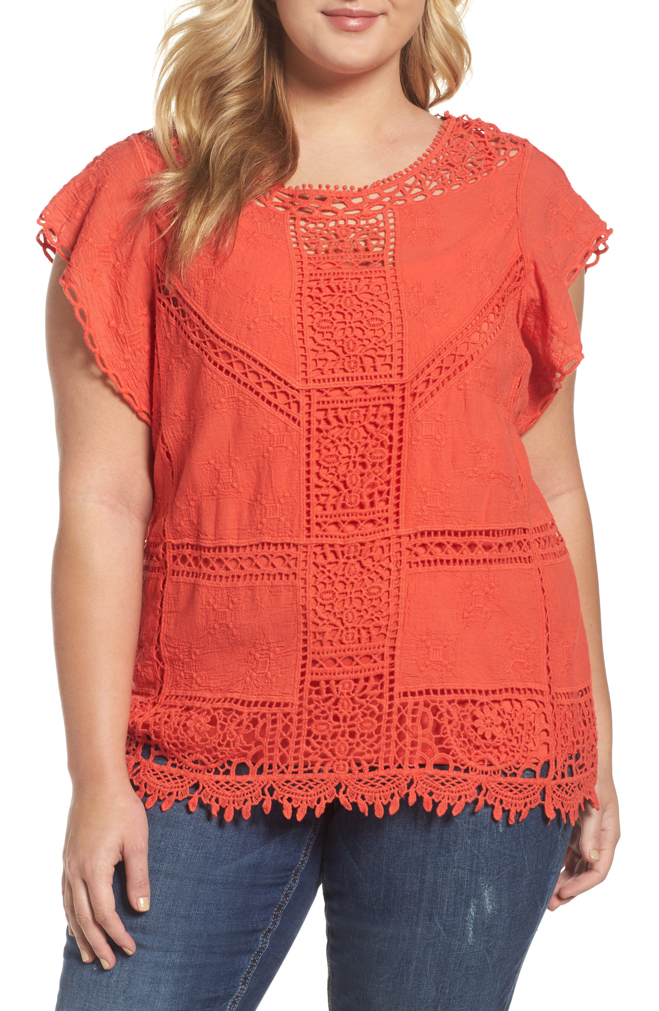 Flutter Sleeve Crochet Top,                         Main,                         color, Red Coral