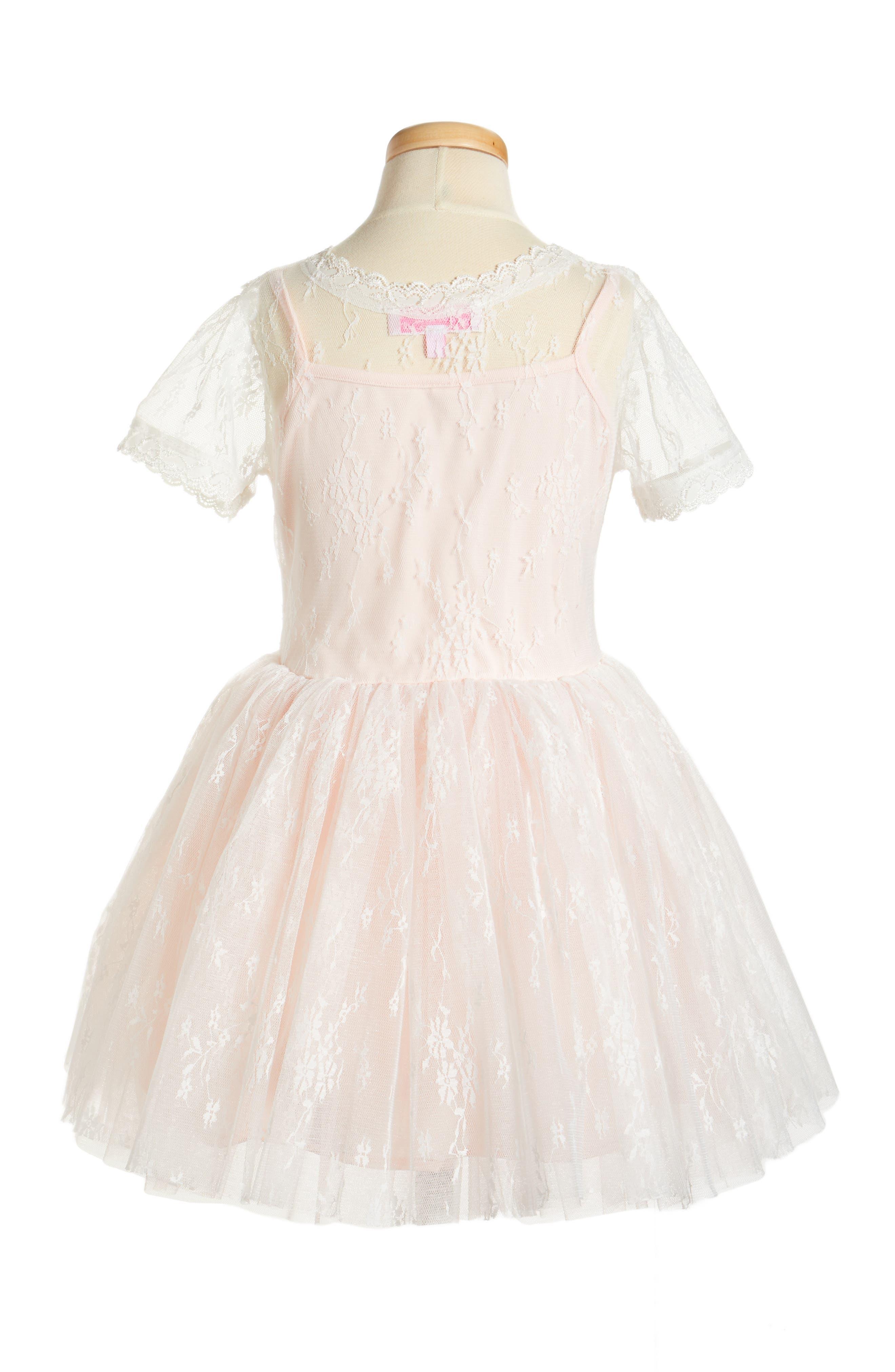 Lace Dress,                             Alternate thumbnail 2, color,                             Light Peach