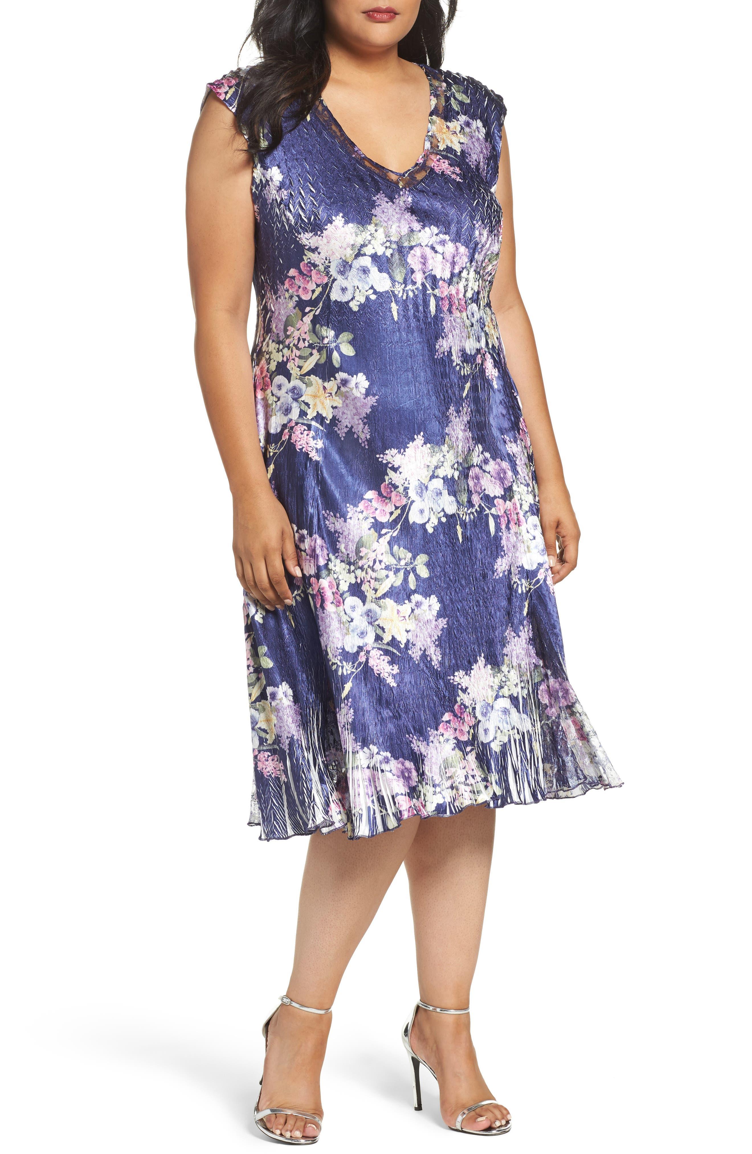 Komarov Floral Print Charmeuse Dress (Plus Size)