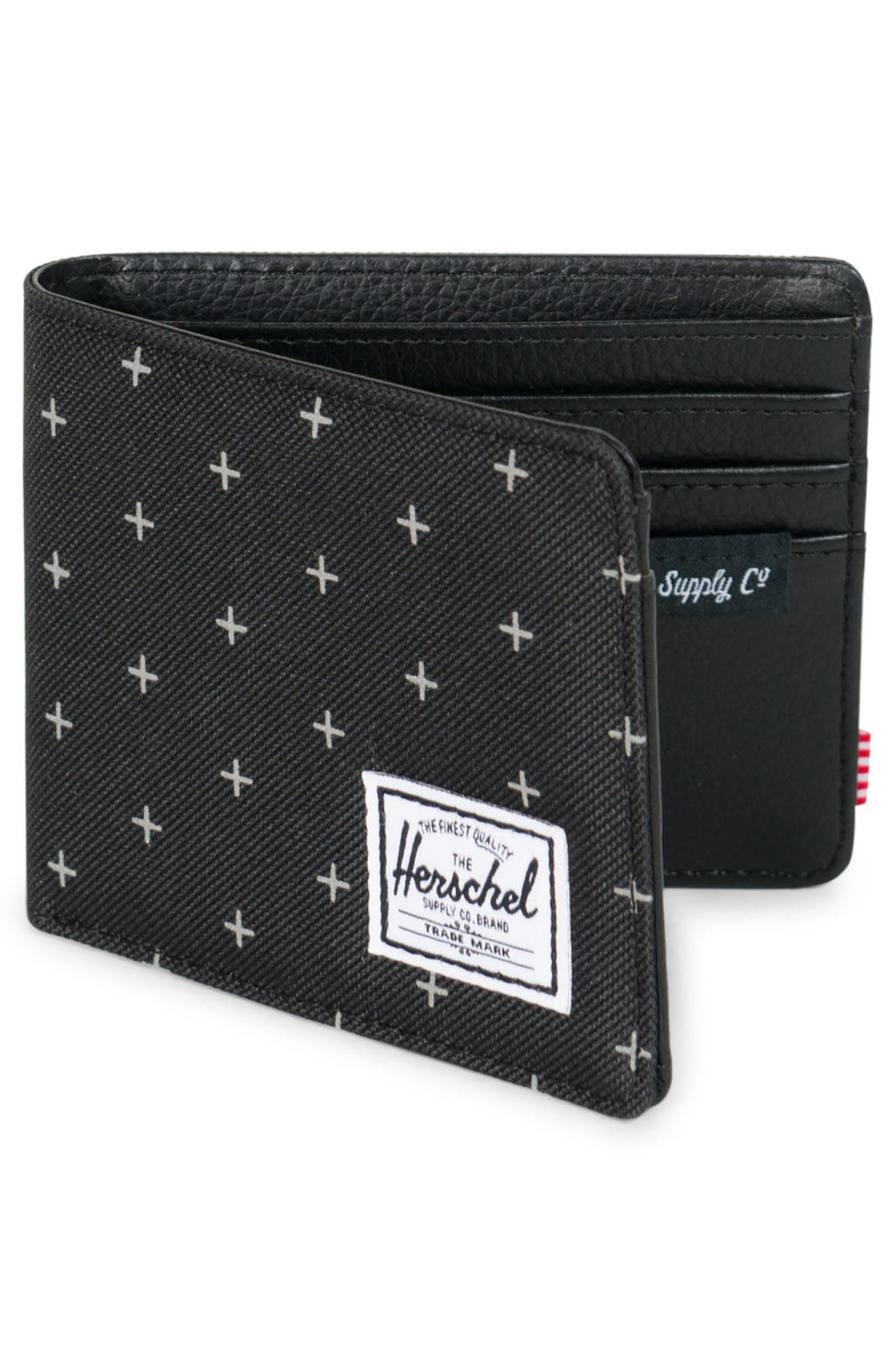 Hank RFID Wallet,                             Alternate thumbnail 3, color,                             Black Gridlock/ Black Leather
