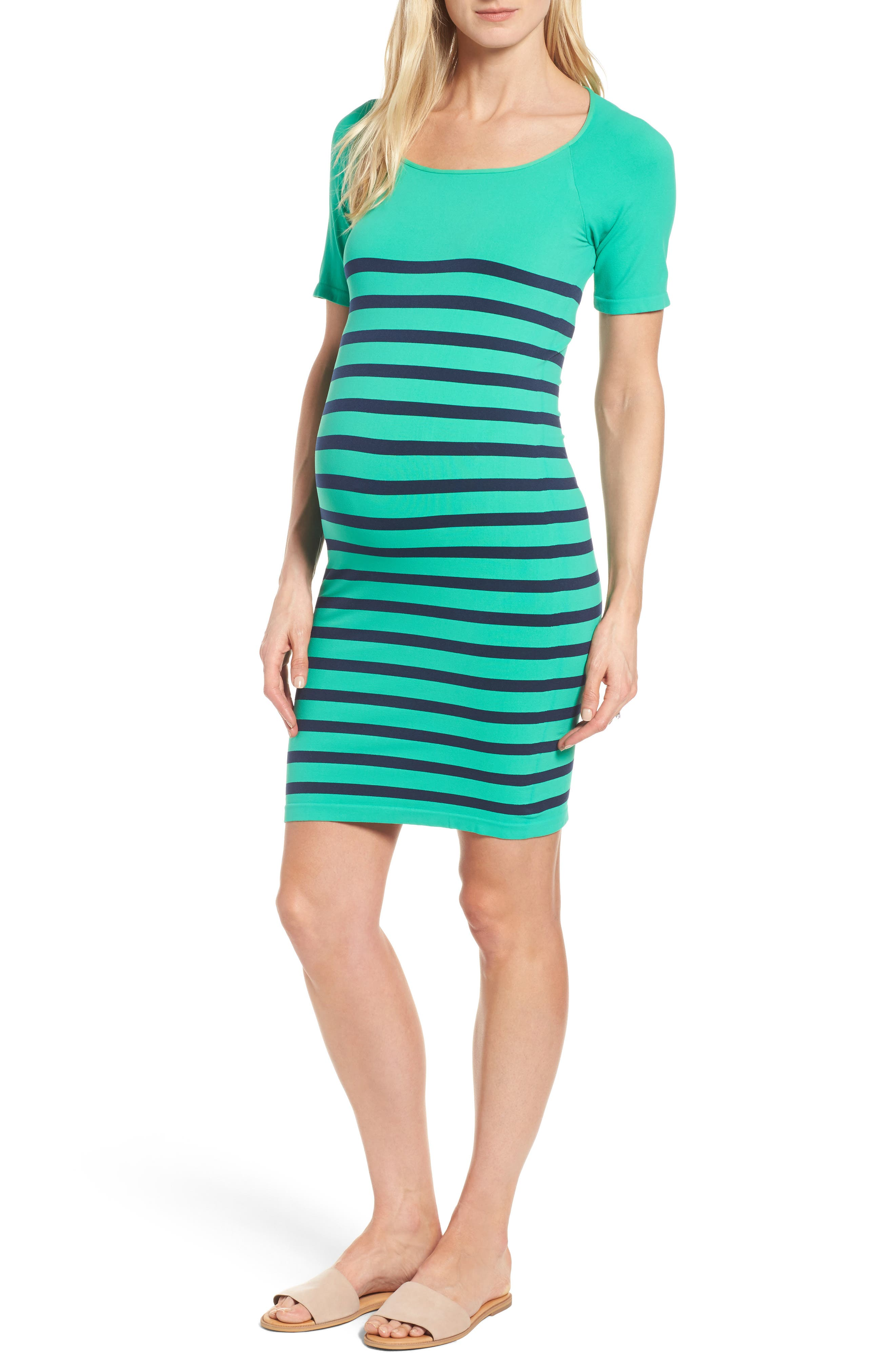 'Nautical' Short Sleeve Maternity Dress,                         Main,                         color, Green/ Navy