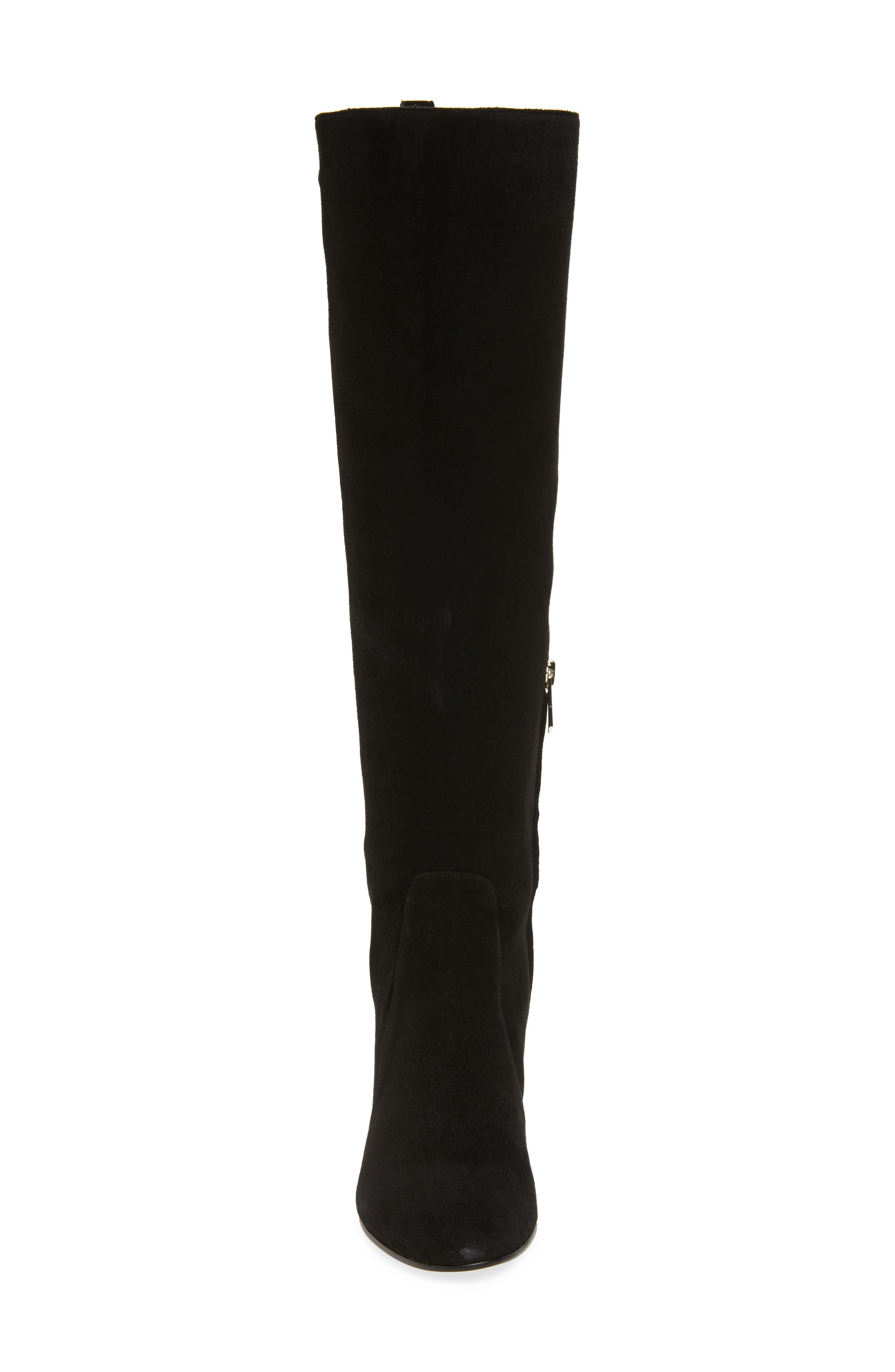 Thora Knee High Boot,                             Alternate thumbnail 4, color,                             Black Leather