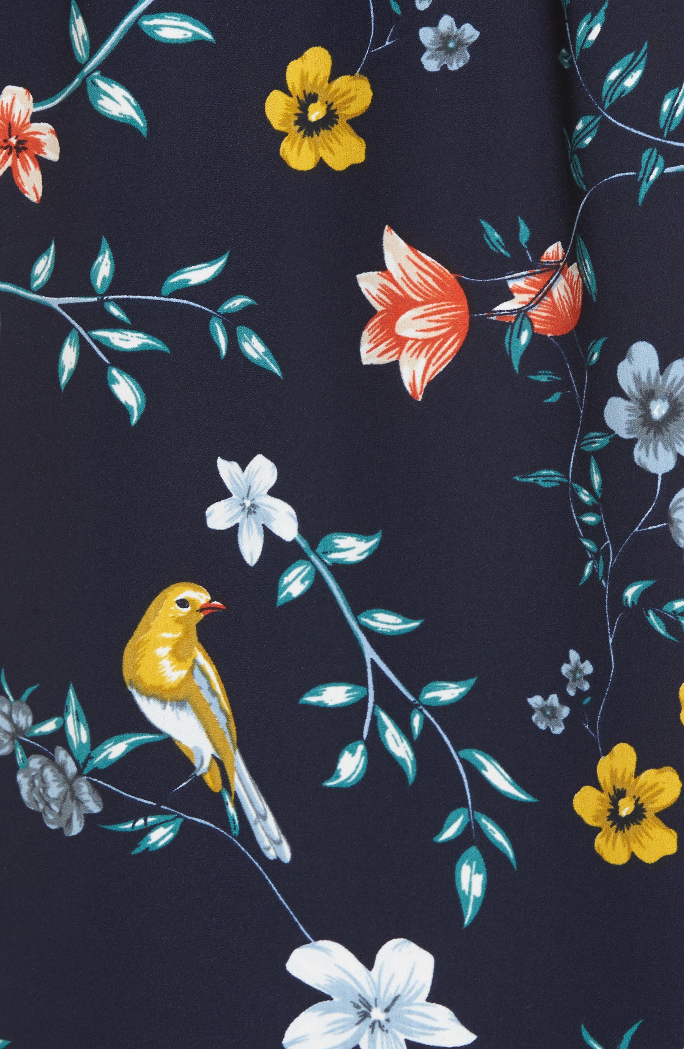 Linnea One-Shoulder Top,                             Alternate thumbnail 5, color,                             Floral Bird Print