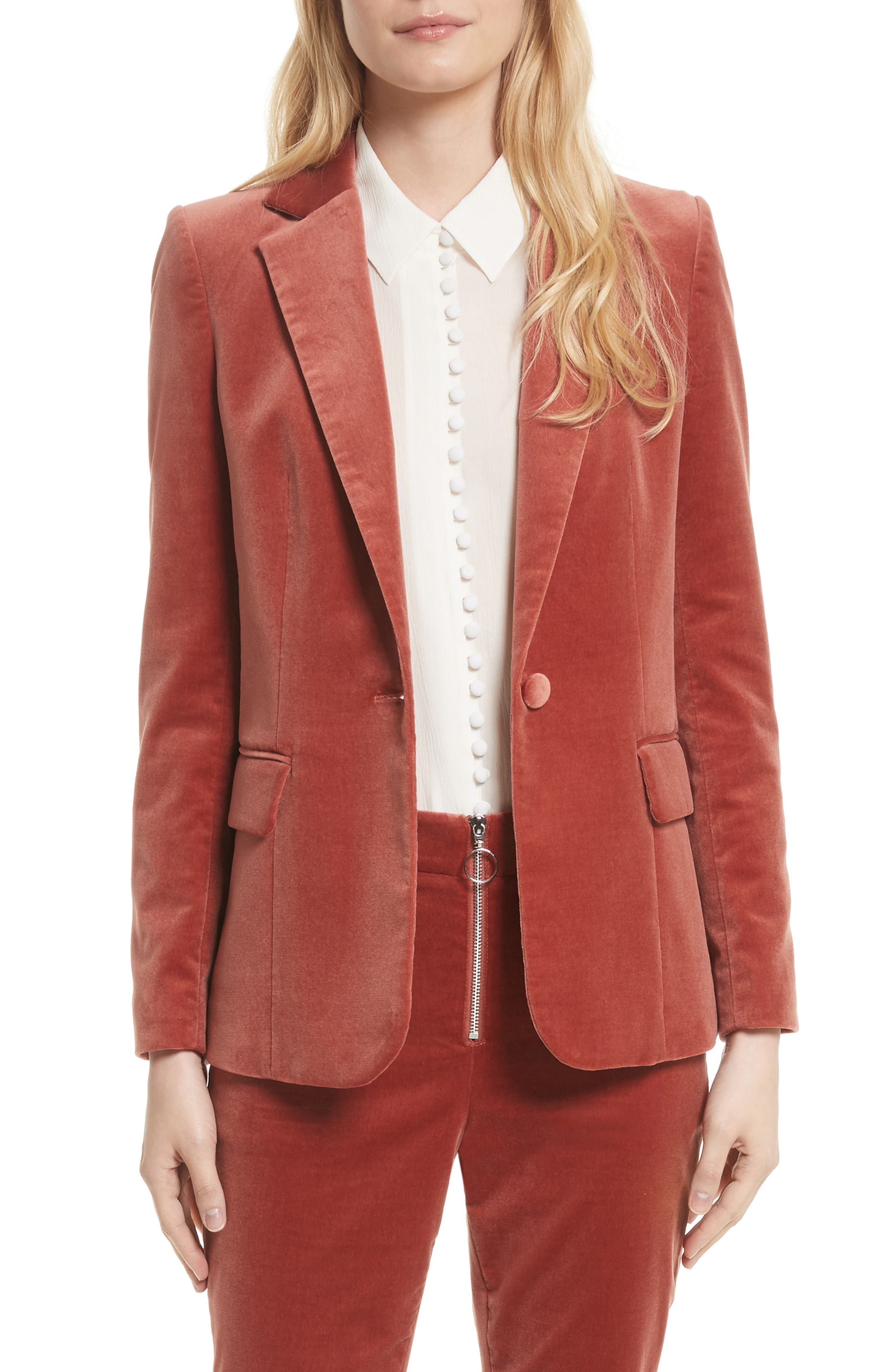 Stretch Velvet Blazer,                             Main thumbnail 1, color,                             Spice