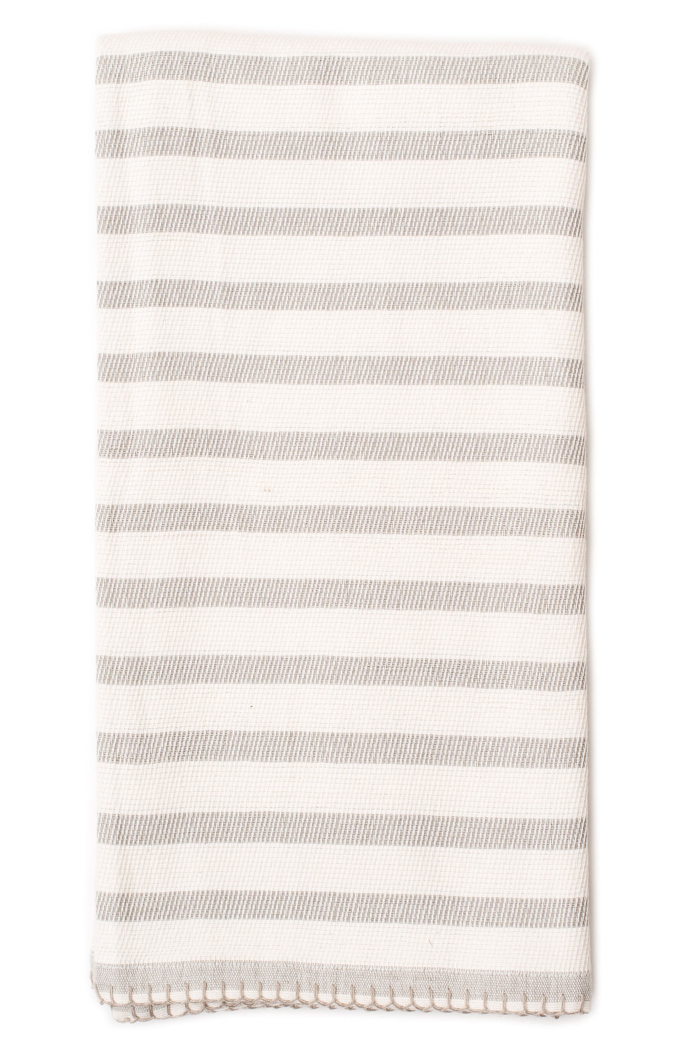Classic Stripe Organic Cotton Blanket,                         Main,                         color, Fog