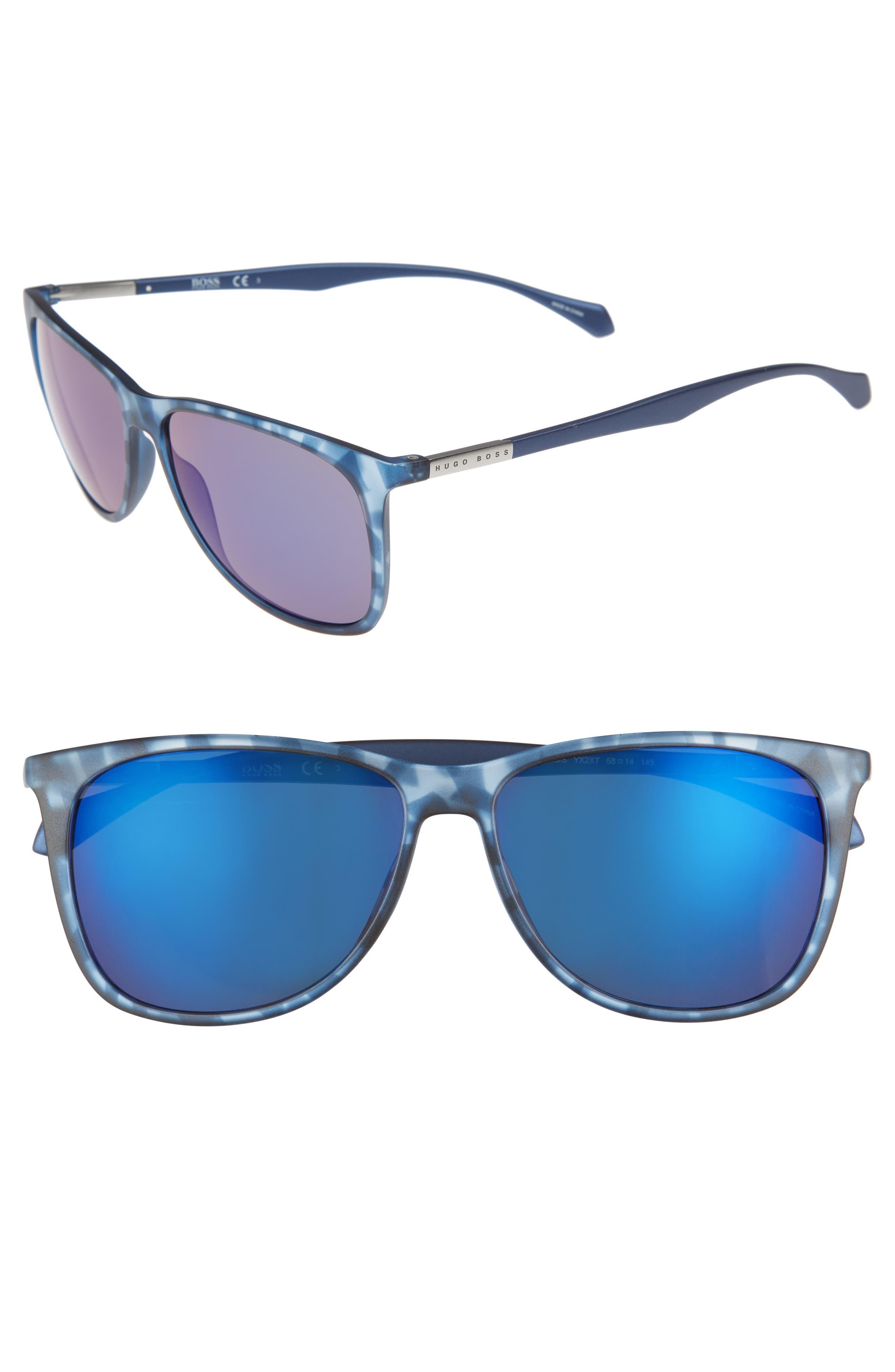 58mm Sunglasses,                         Main,                         color, Blue Havana/ Blue Sky