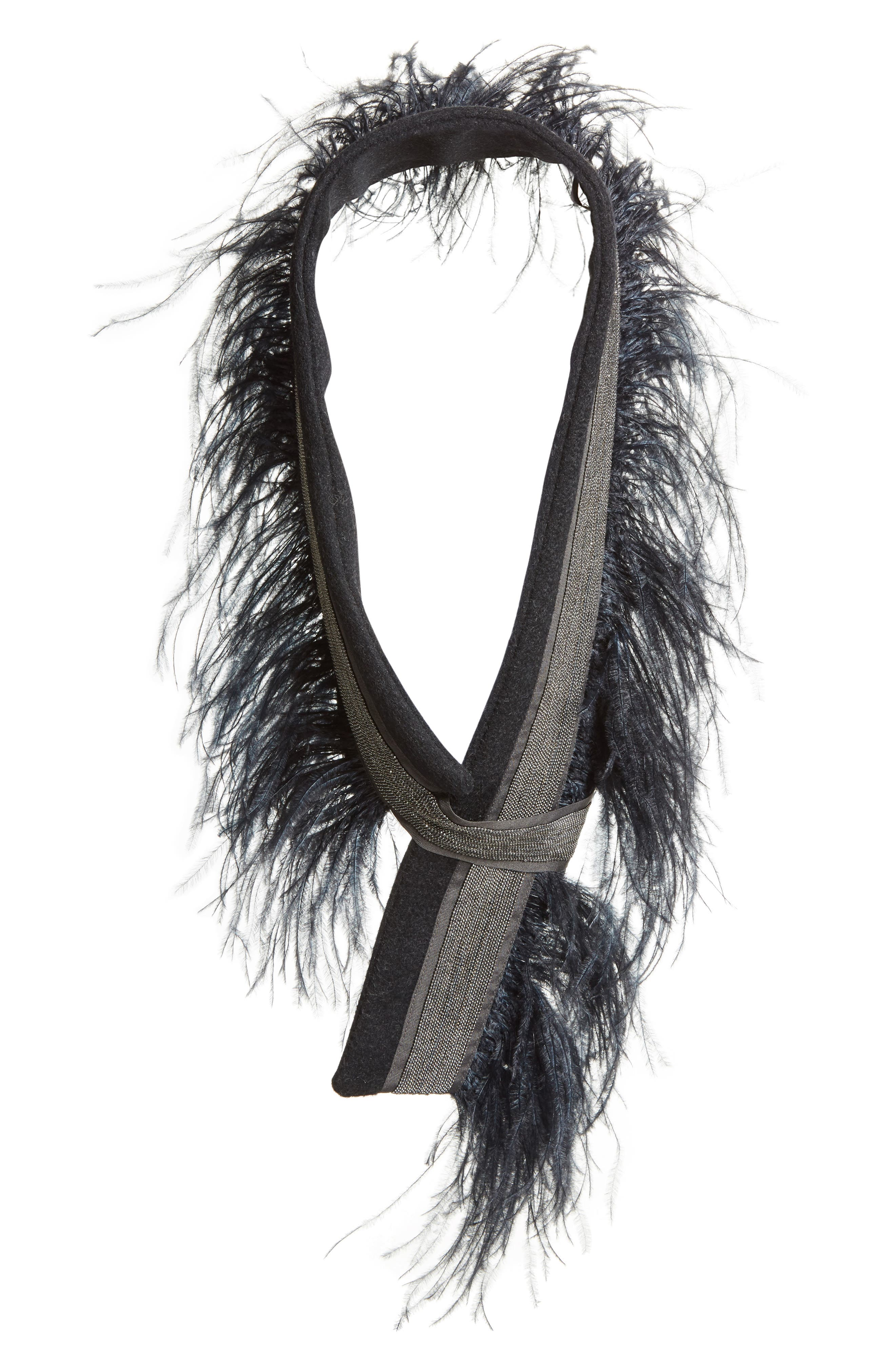 Genuine Ostrich Feather Trim Wool Blend Collar,                         Main,                         color, Navy