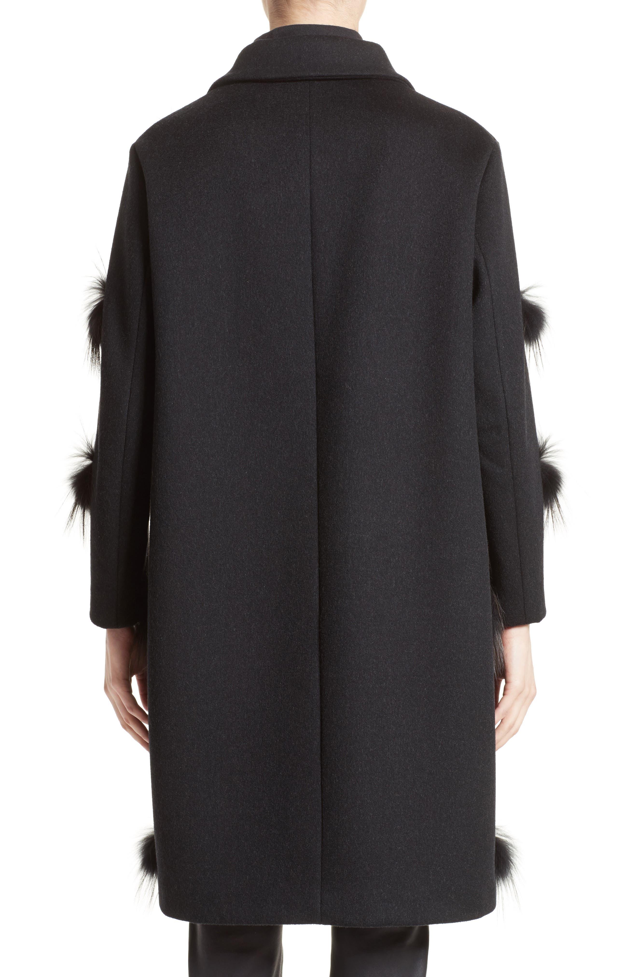 Alternate Image 2  - Fabiana Filippi Genuine Fox Fur Trim Wool Blend Coat