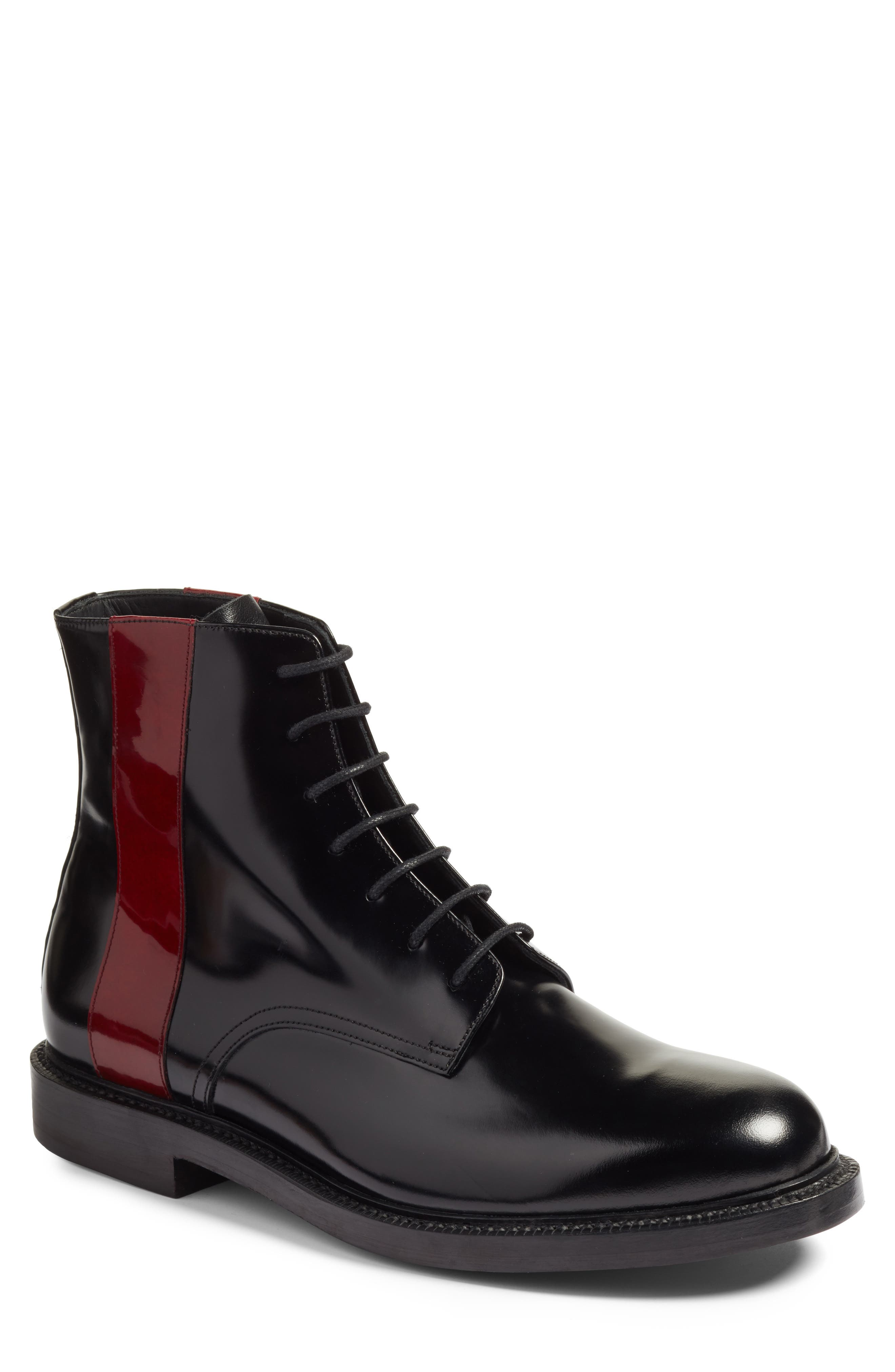 Hova Boot,                             Main thumbnail 1, color,                             Black/ Red Leather