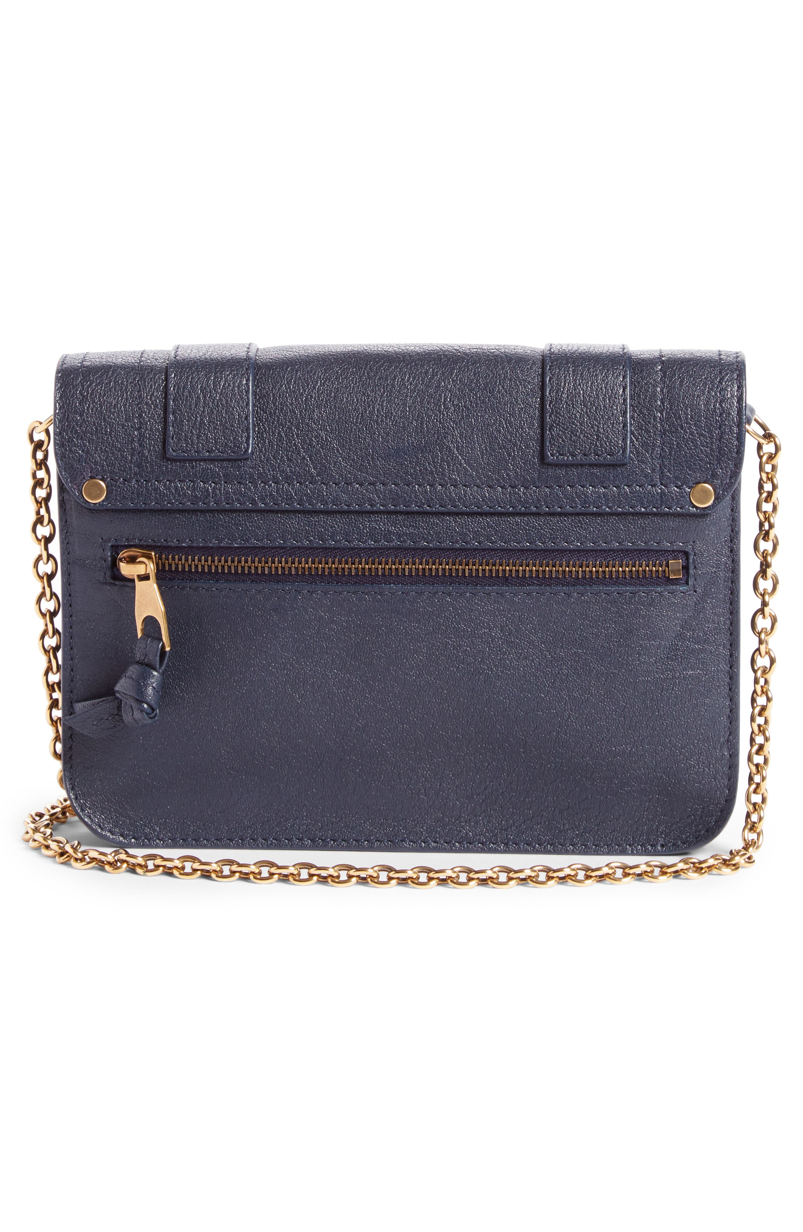 PS1 Lambskin Leather Chain Wallet,                             Alternate thumbnail 3, color,                             Midnight