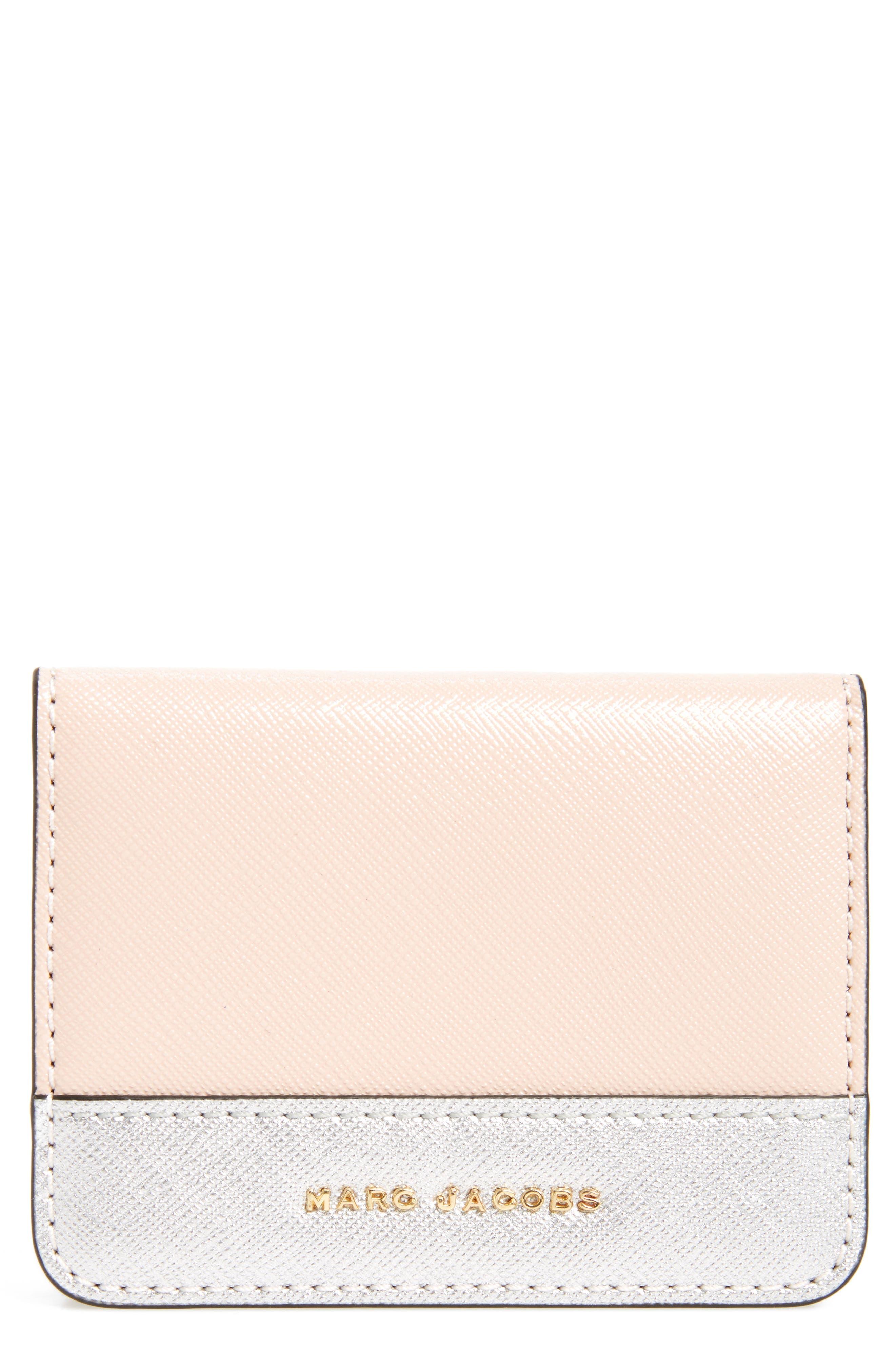Color Block Saffiano Leather Business Card Case,                             Main thumbnail 1, color,                             Pale Pink Multi