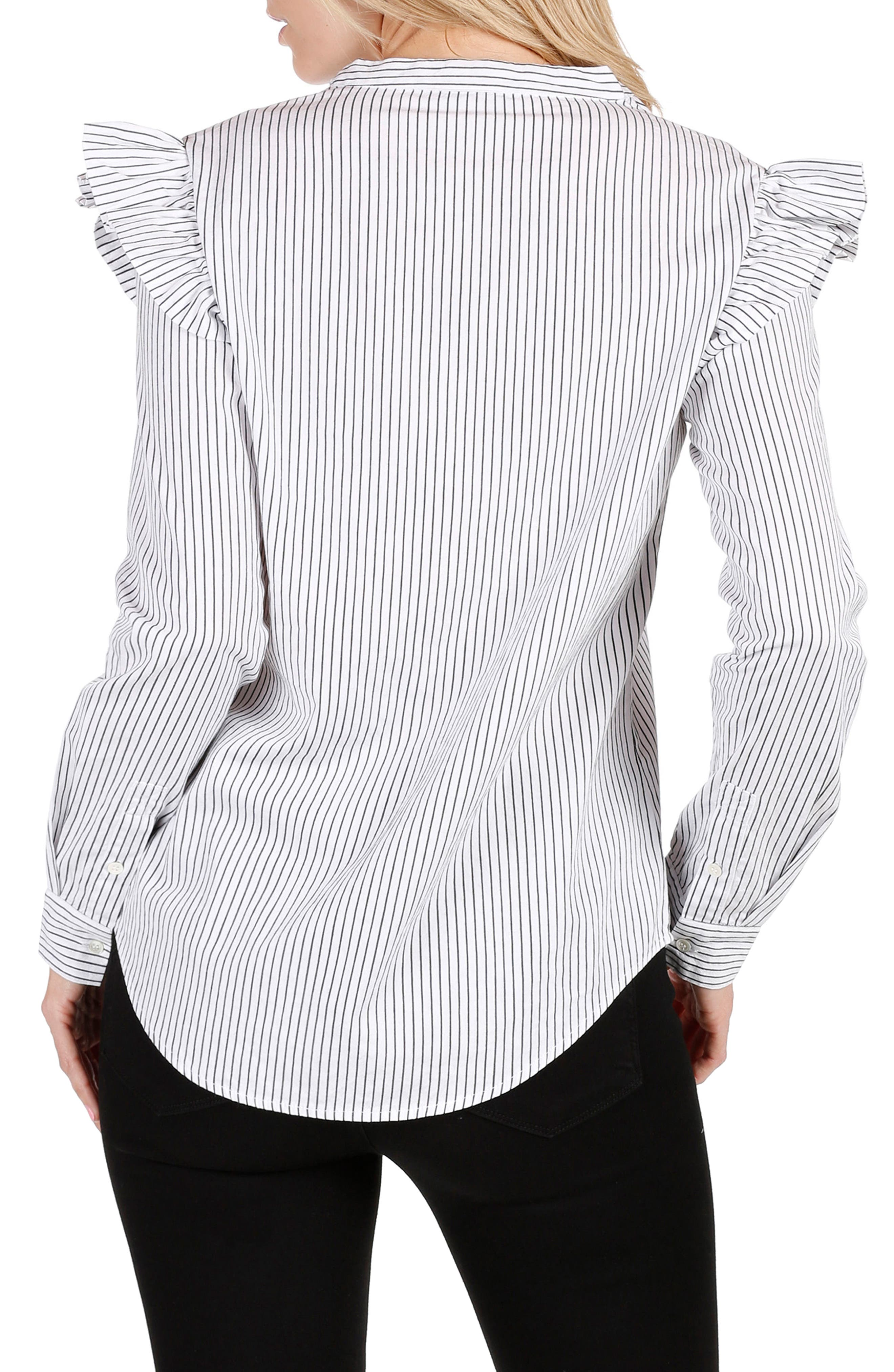 Jenelle Ruffle Dress Shirt,                             Alternate thumbnail 3, color,                             Black/ White Stripe