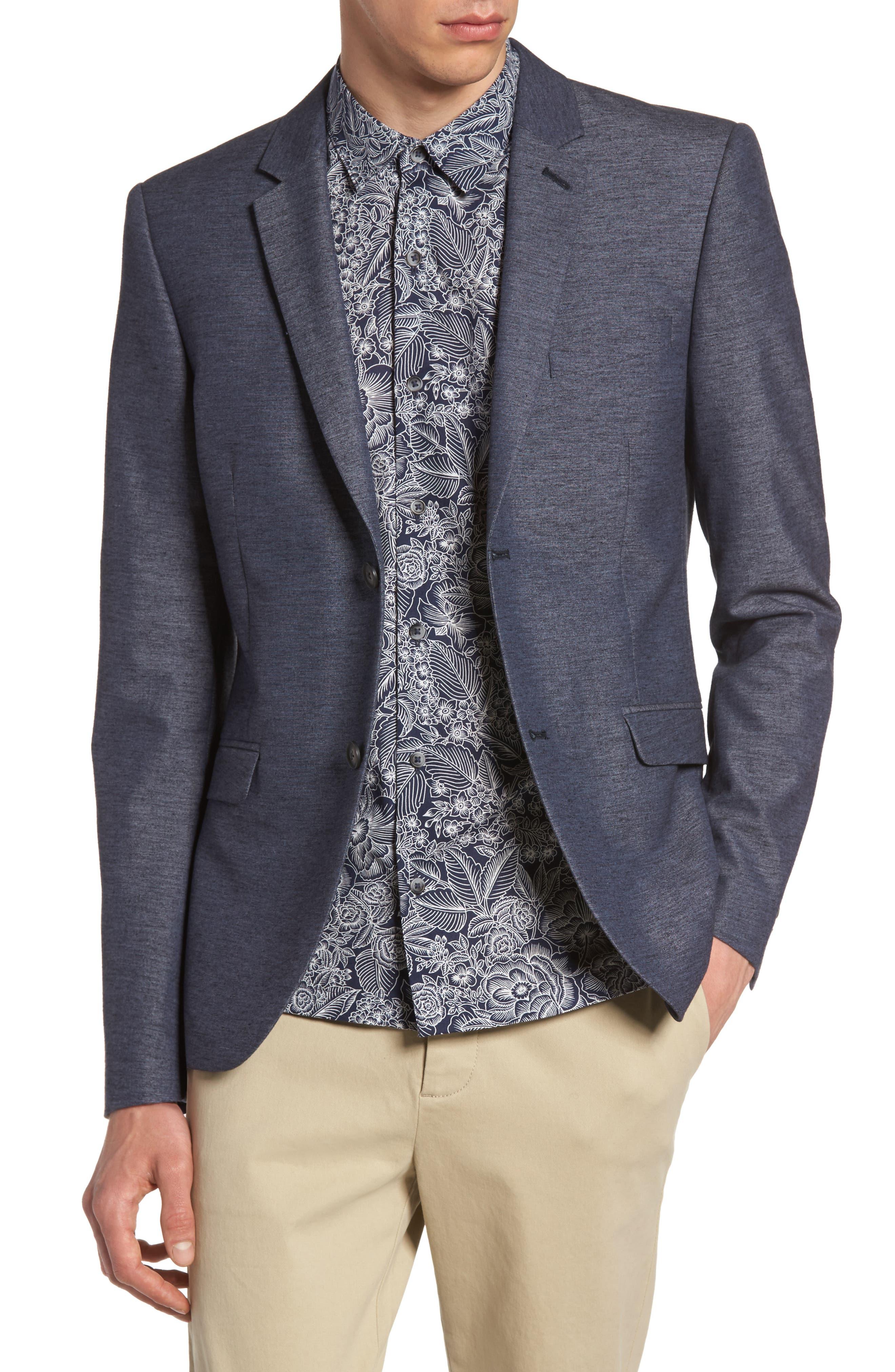 Slim Fit Jersey Blazer,                         Main,                         color, Blue