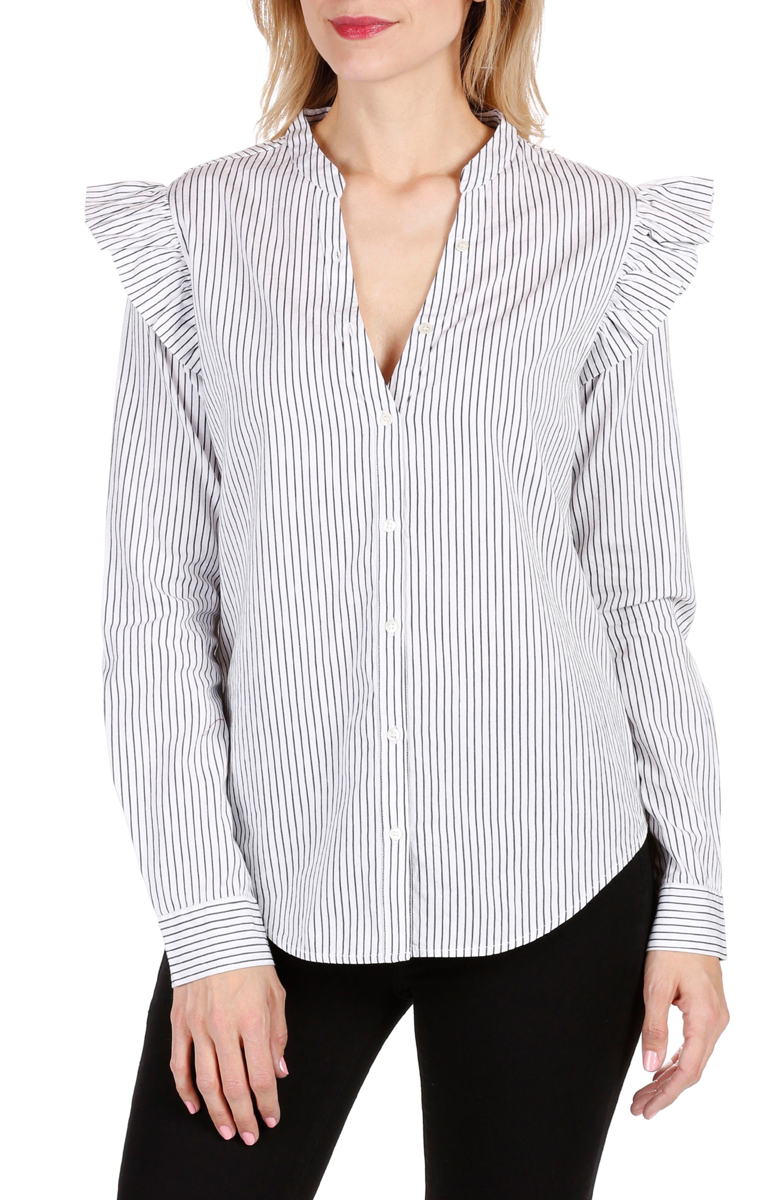 Jenelle Ruffle Dress Shirt,                             Main thumbnail 1, color,                             Black/ White Stripe