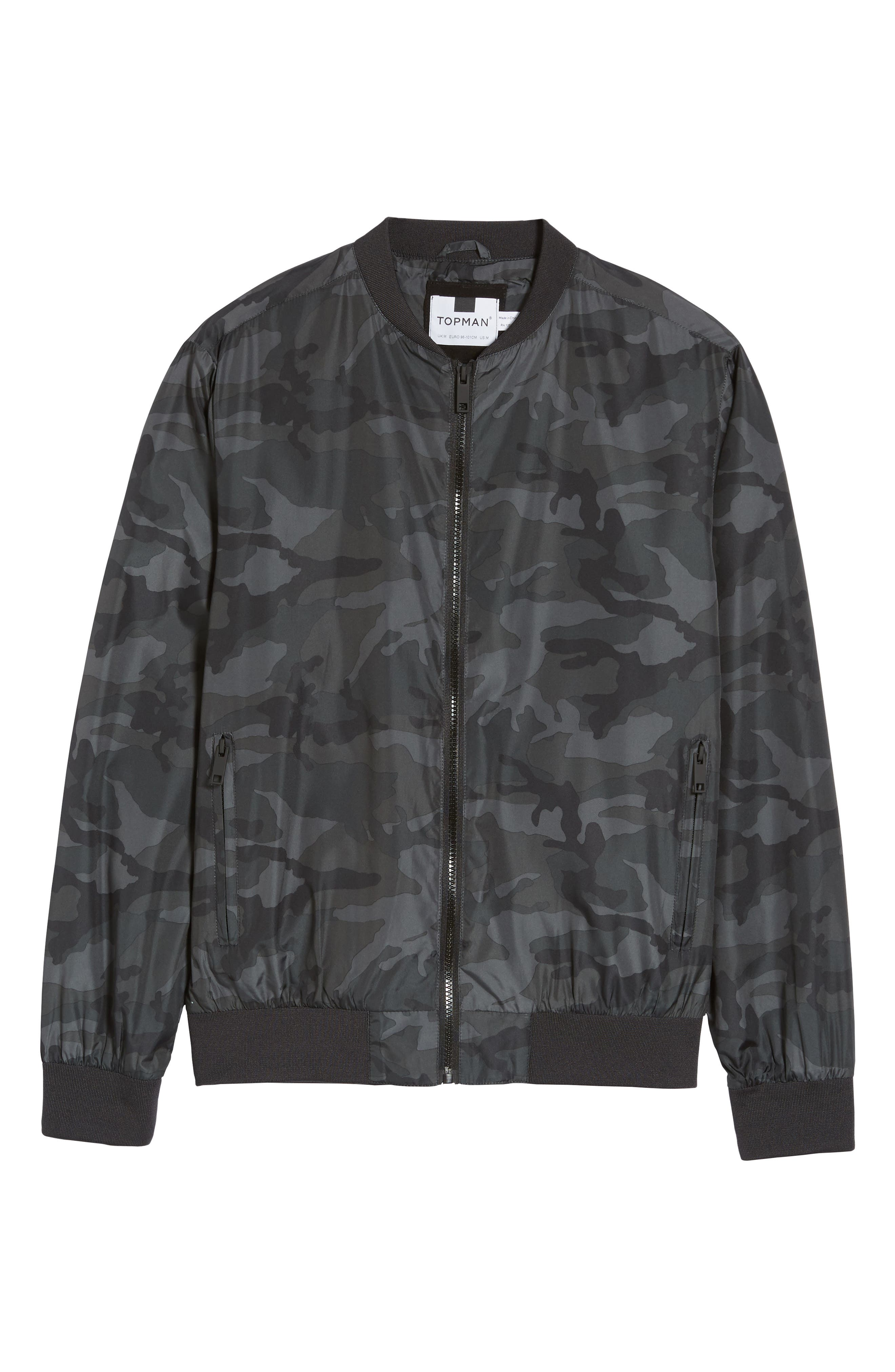 Camo Print Bomber Jacket,                             Alternate thumbnail 7, color,                             Grey Multi