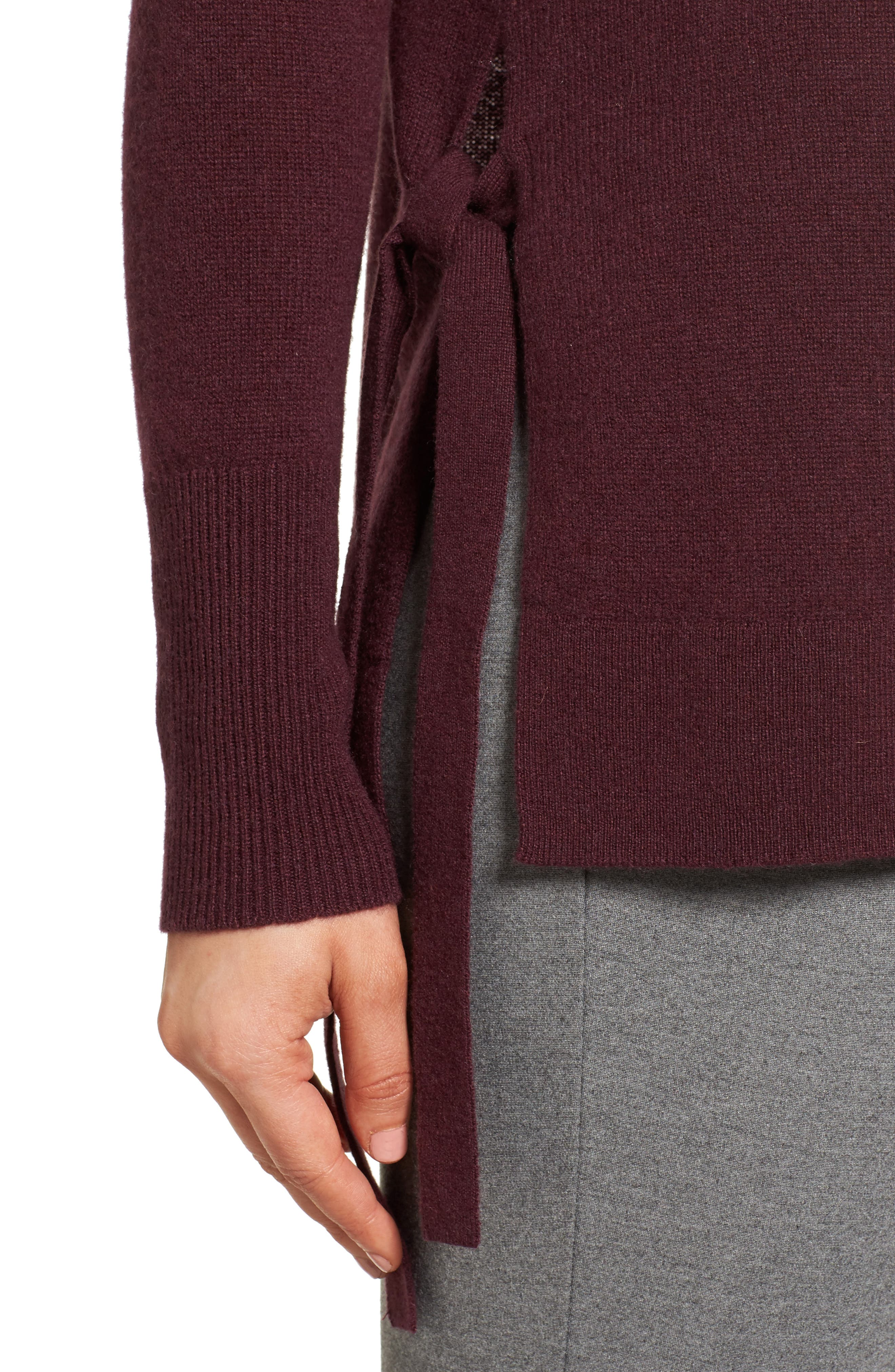 Alternate Image 4  - Halogen® Side Tie Cashmere Sweater (Regular & Petite)