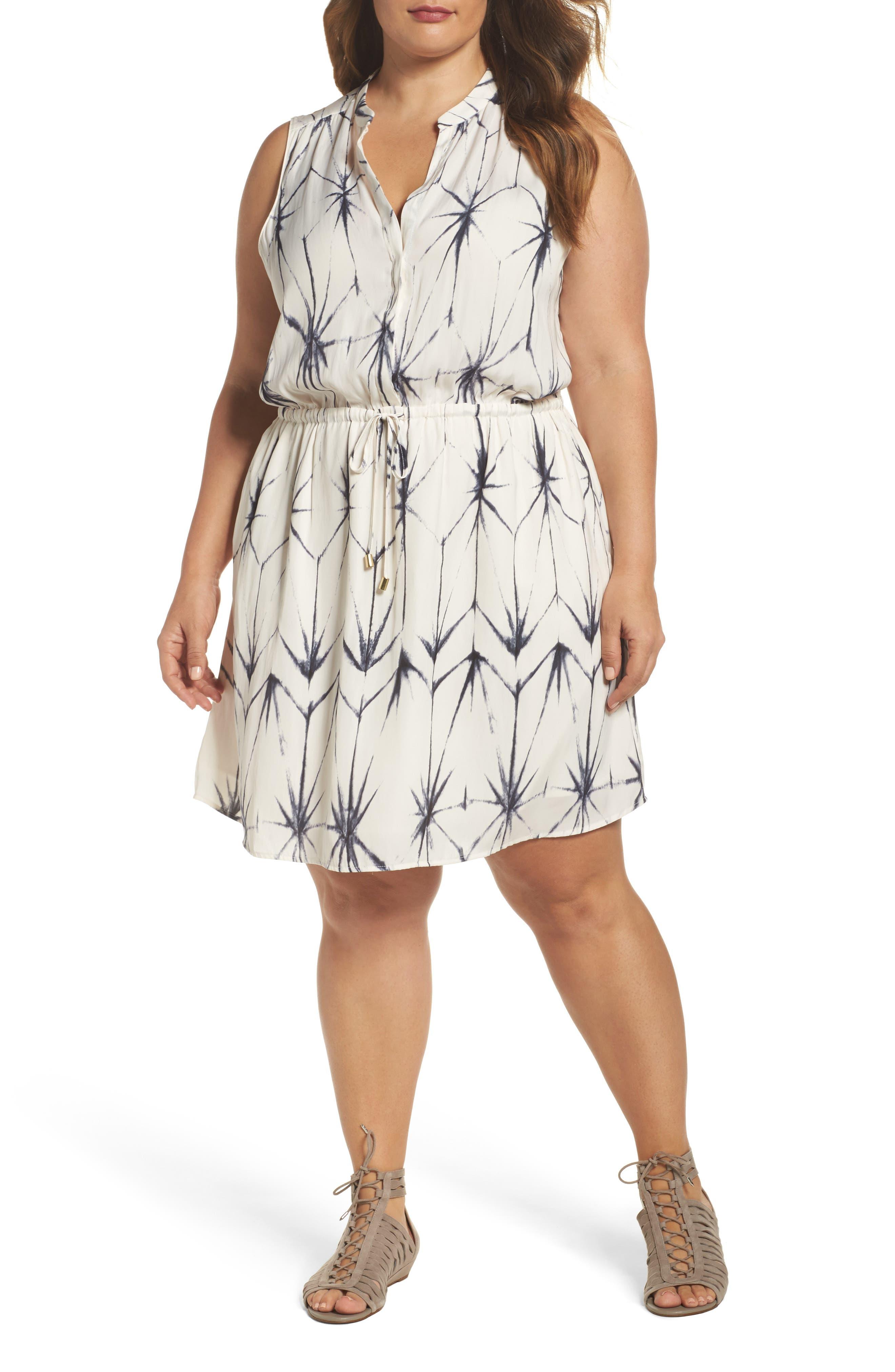 Calla Blouson Dress,                         Main,                         color, Folded Shibori