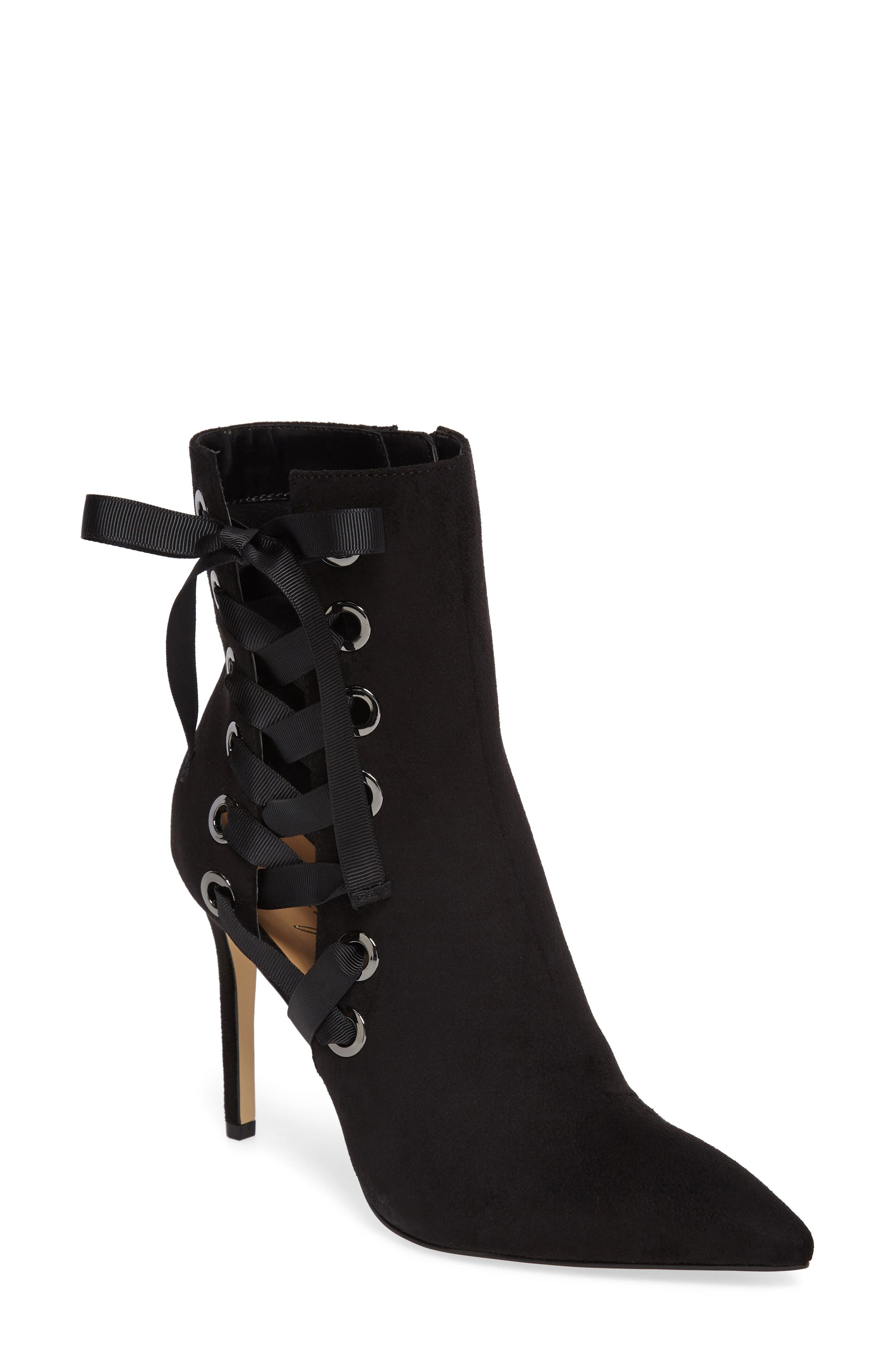 by Zendaya Nancey Ribbon Bootie,                         Main,                         color, Black