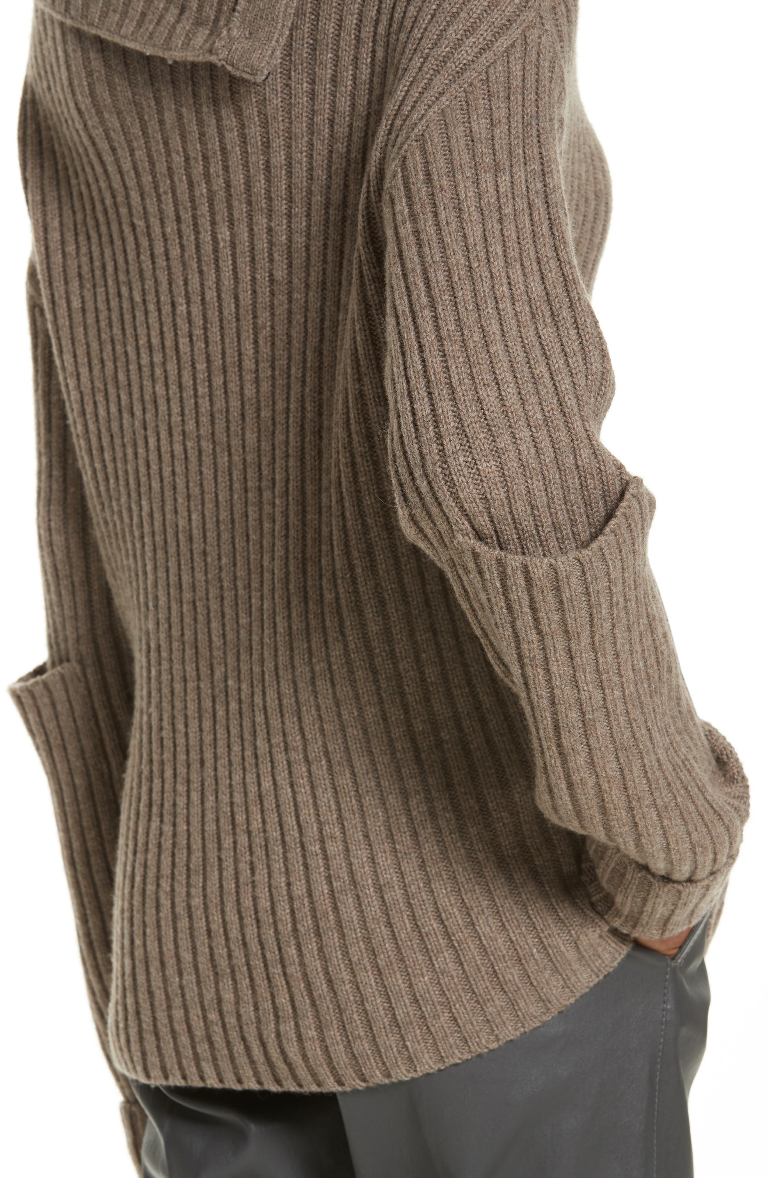 High-Neck Military Sweater,                             Alternate thumbnail 4, color,                             Taupe