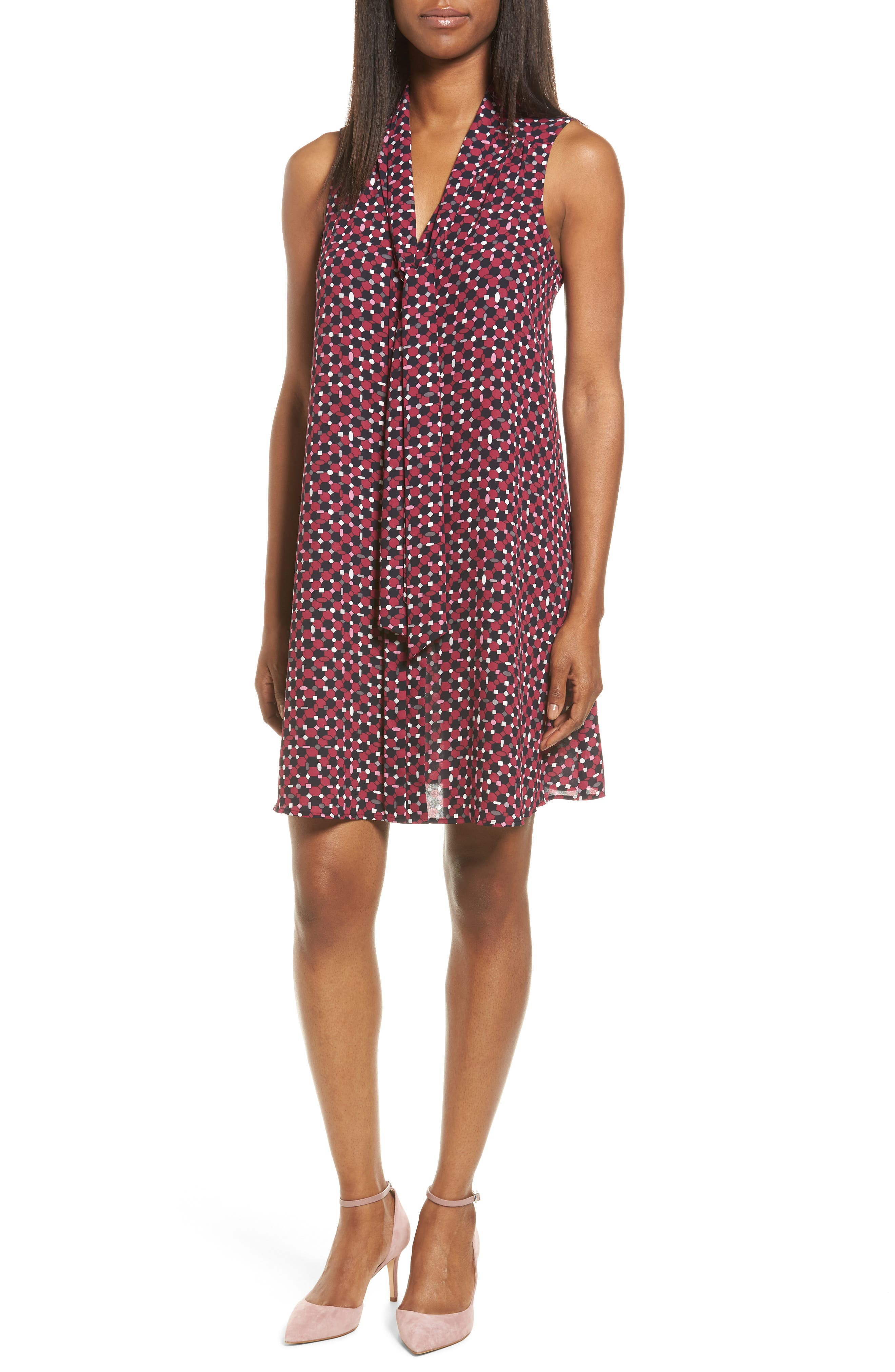 CECE Geo Print Tie Neck Swing Dress