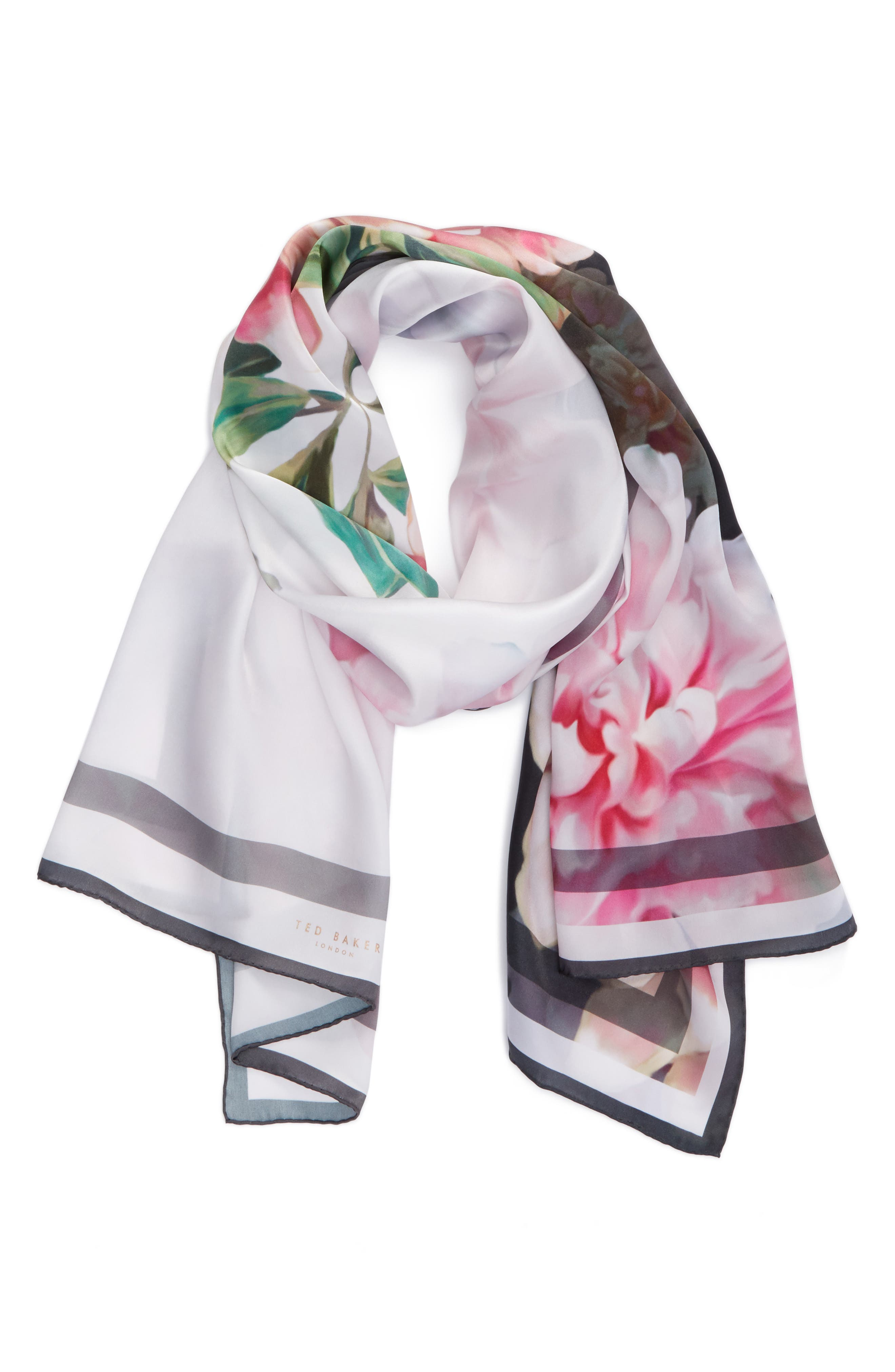 Painted Posie Long Silk Scarf,                             Alternate thumbnail 2, color,                             Baby Pink