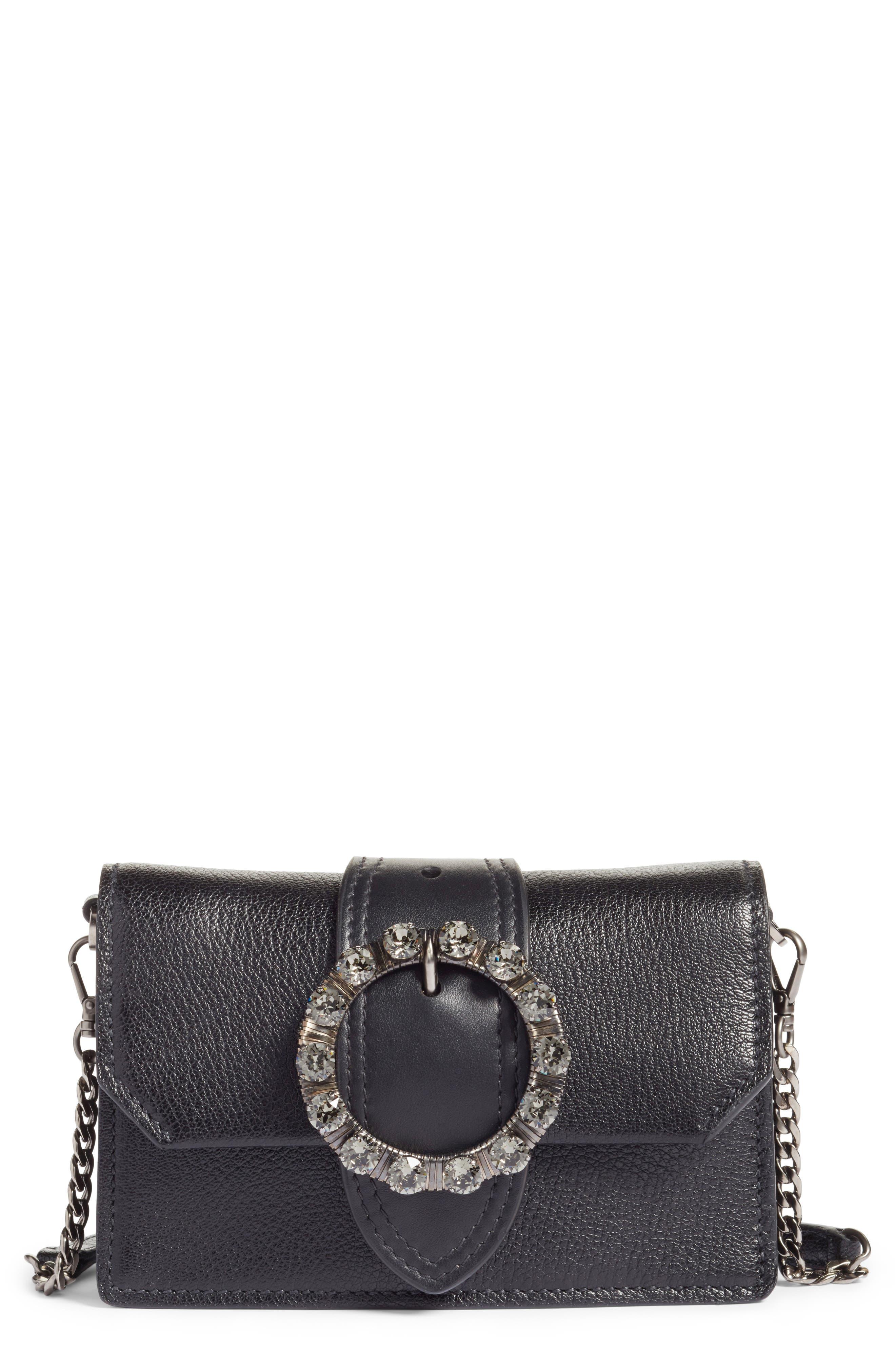Lady Madras Crystal Embellished Leather Crossbody Bag,                         Main,                         color, Nero 1