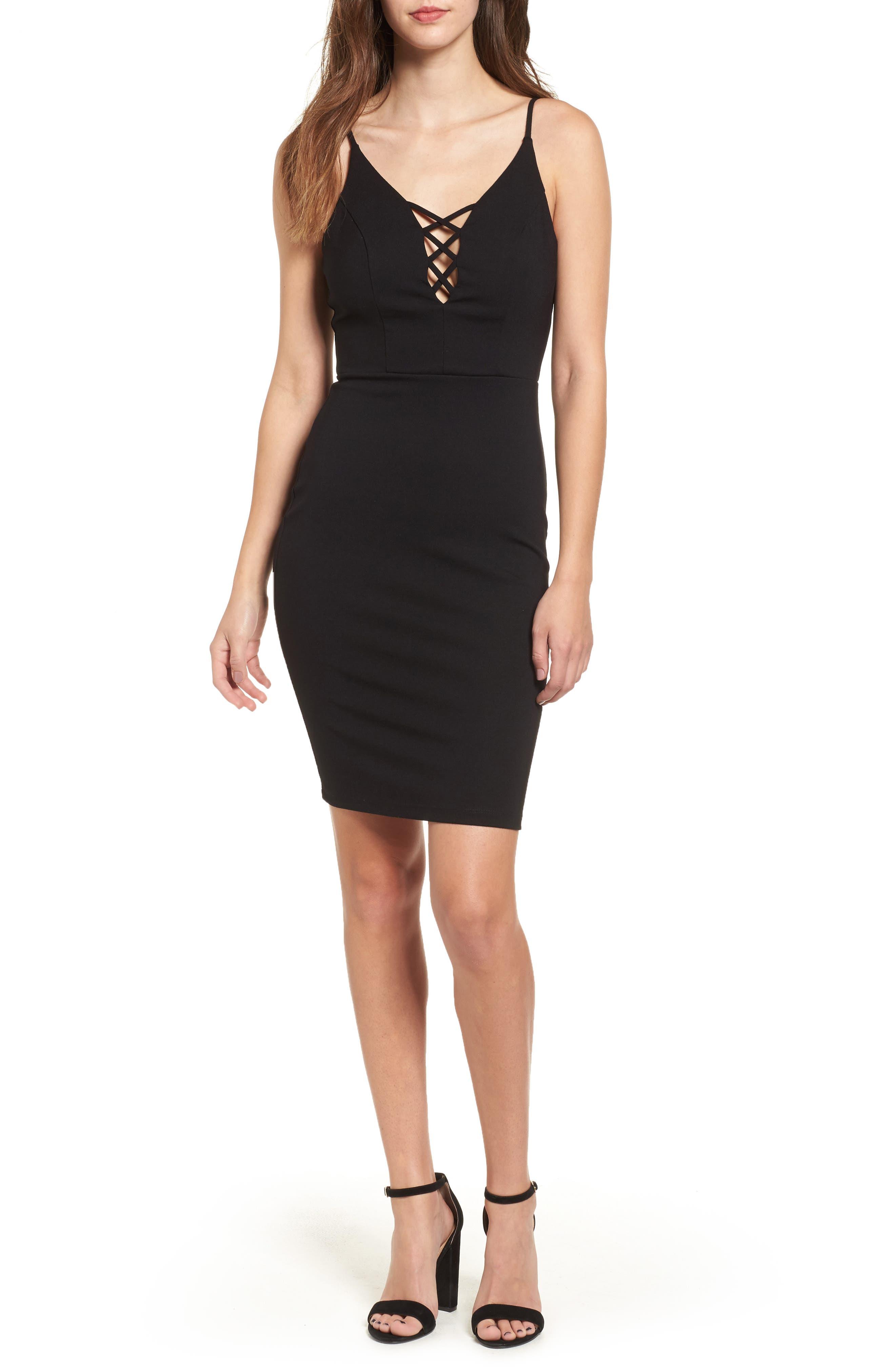 Cross Front Body-Con Dress,                             Main thumbnail 1, color,                             Black