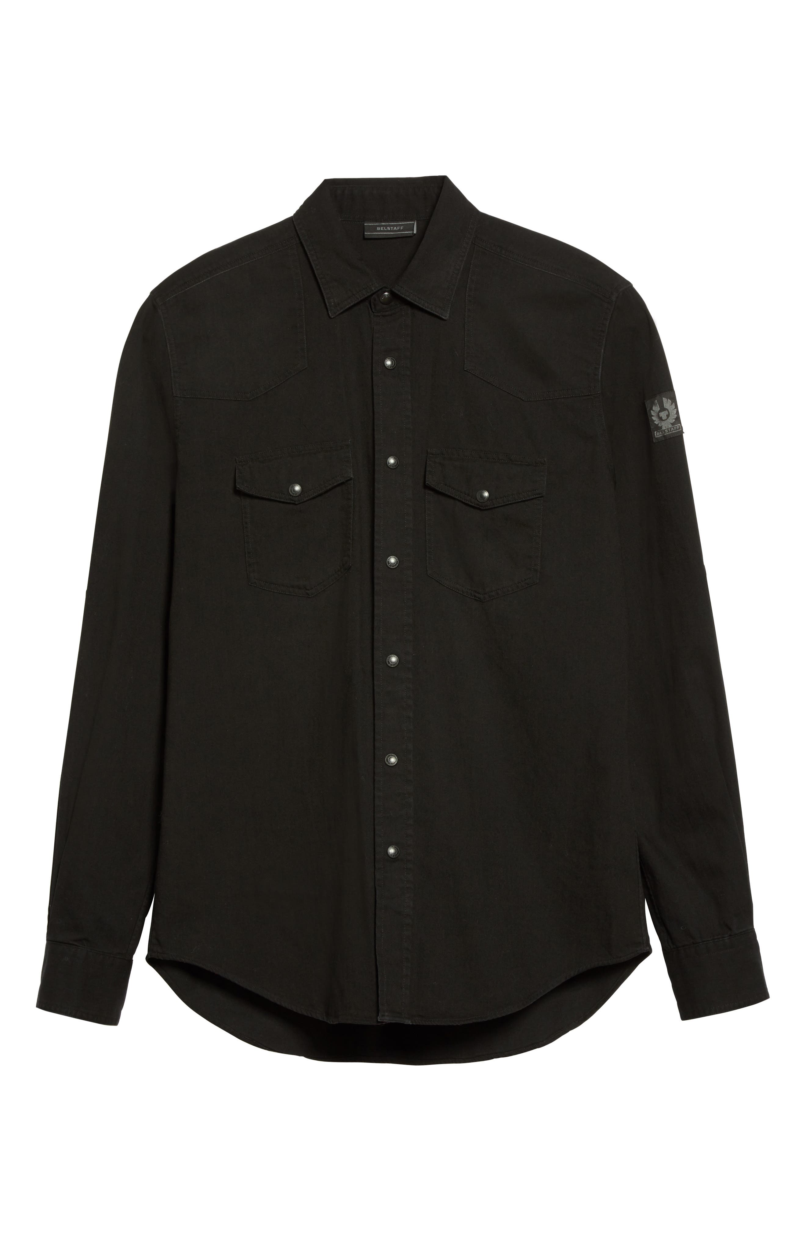 Somerford Extra Trim Fit Denim Shirt,                             Alternate thumbnail 6, color,                             Black