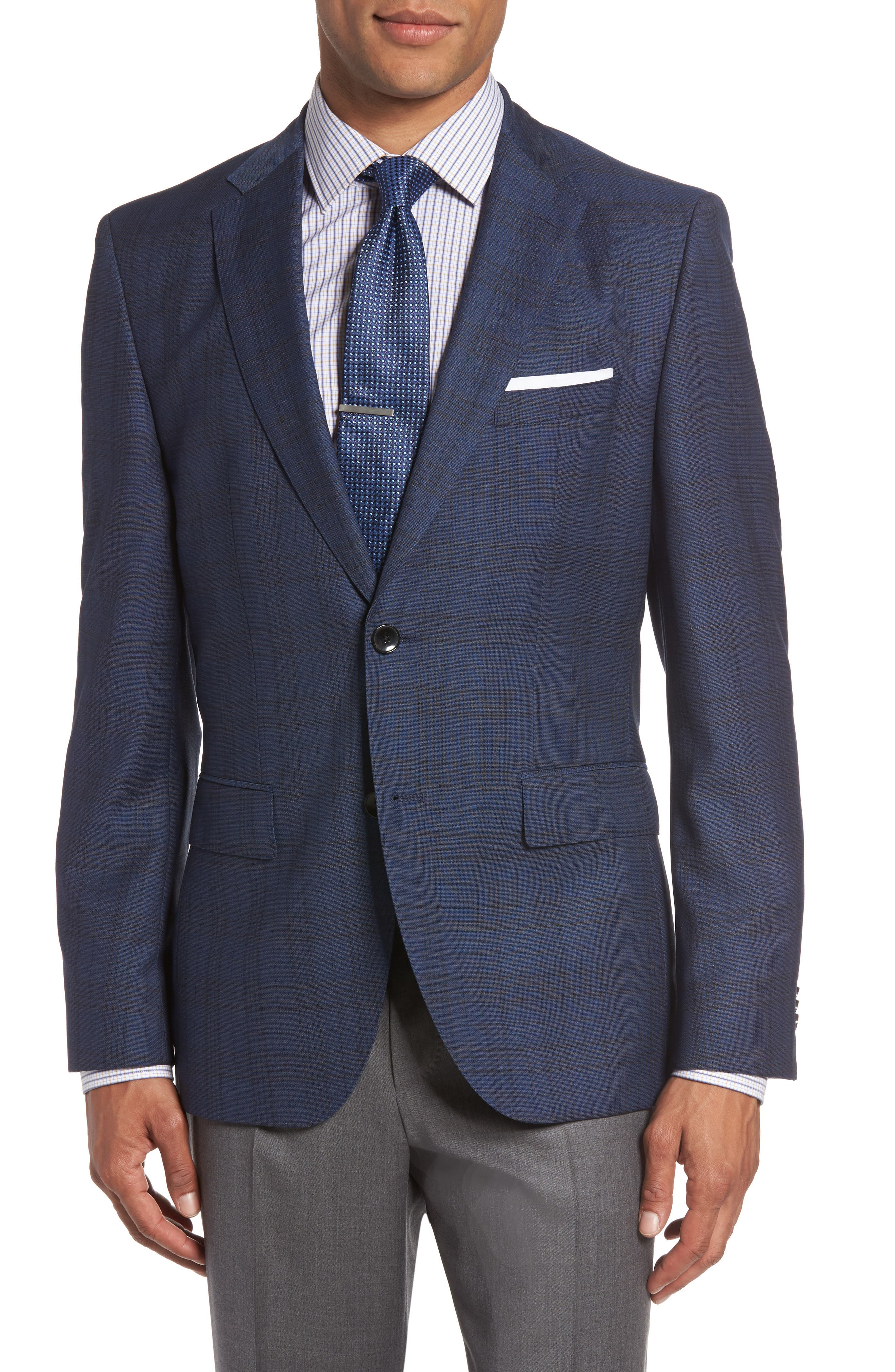 BOSS Jeen 3 Trim Fit Plaid Wool Sport Coat