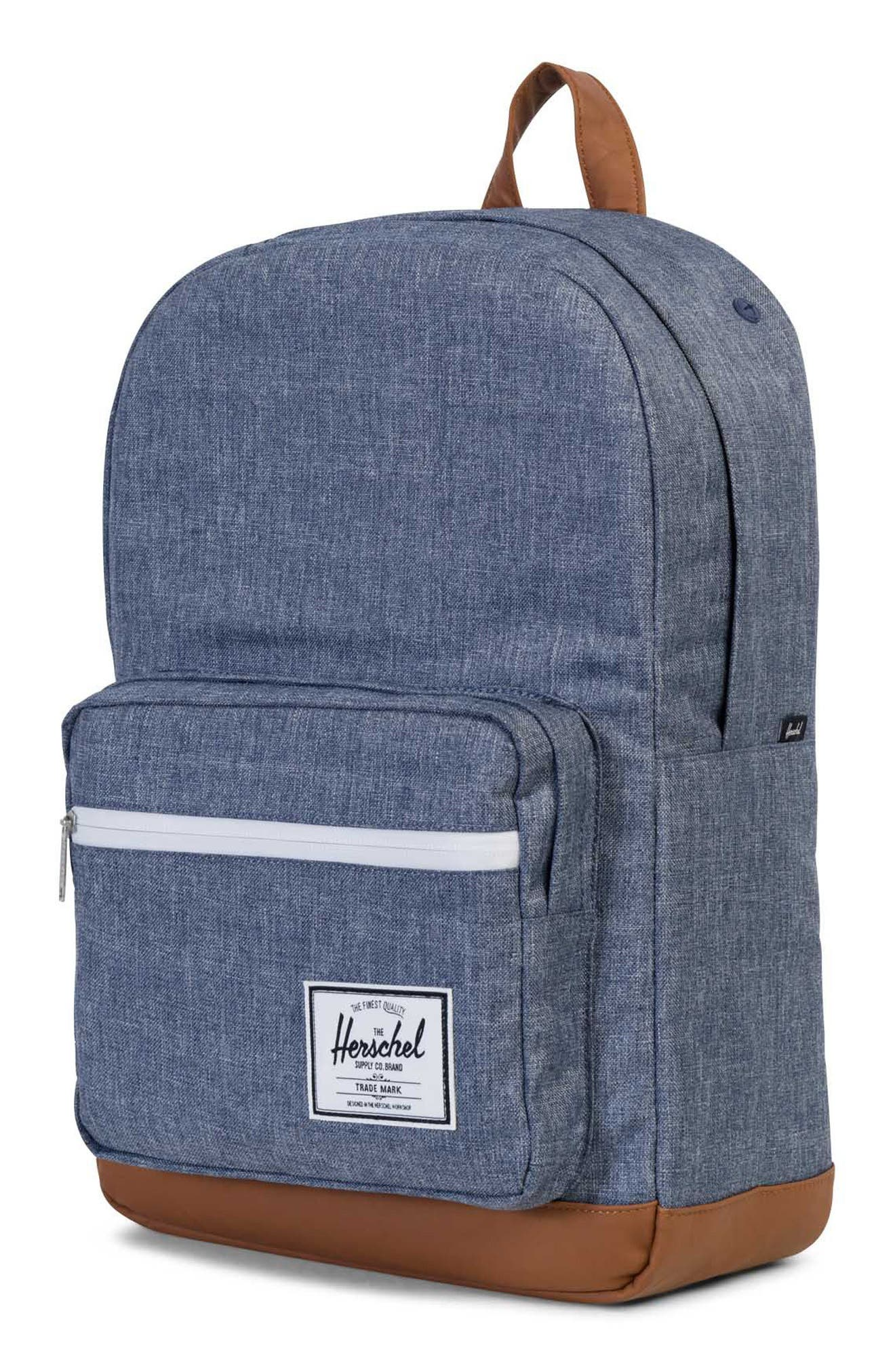 Pop Quiz Crosshatch Backpack,                             Alternate thumbnail 4, color,                             Dark Chambray Crosshatch