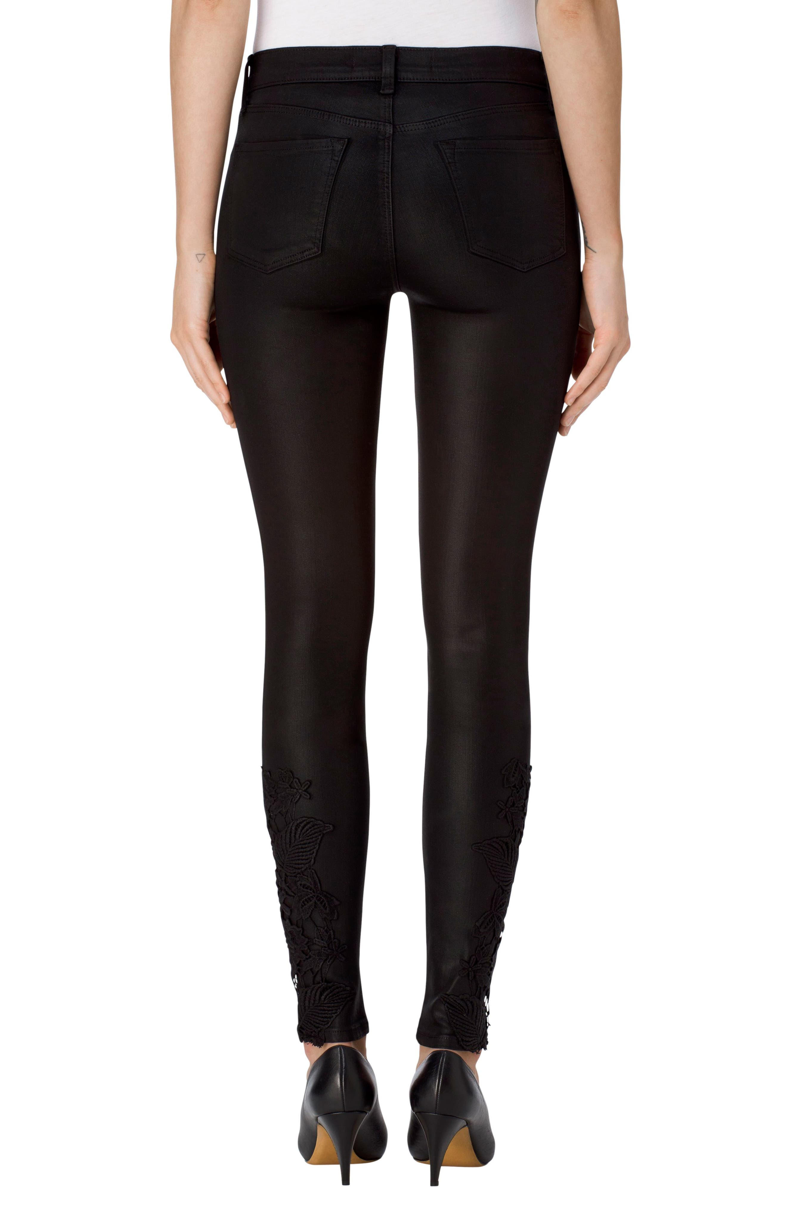 Alternate Image 2  - J Brand 620 Mid Rise Super Skinny Jeans (Coated Black Lace)