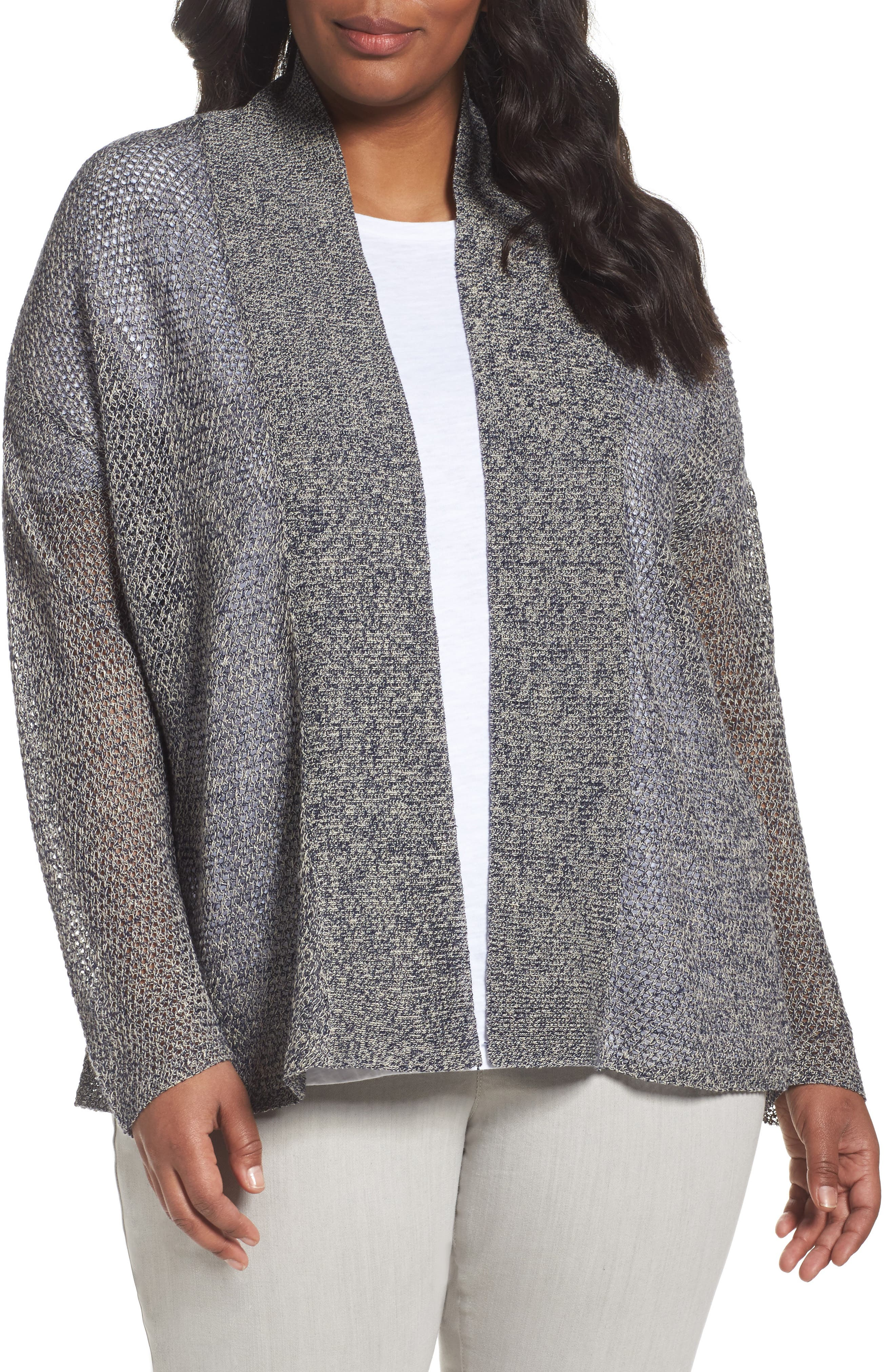 Eileen Fisher Boxy Organic Linen Cardigan (Plus Size)