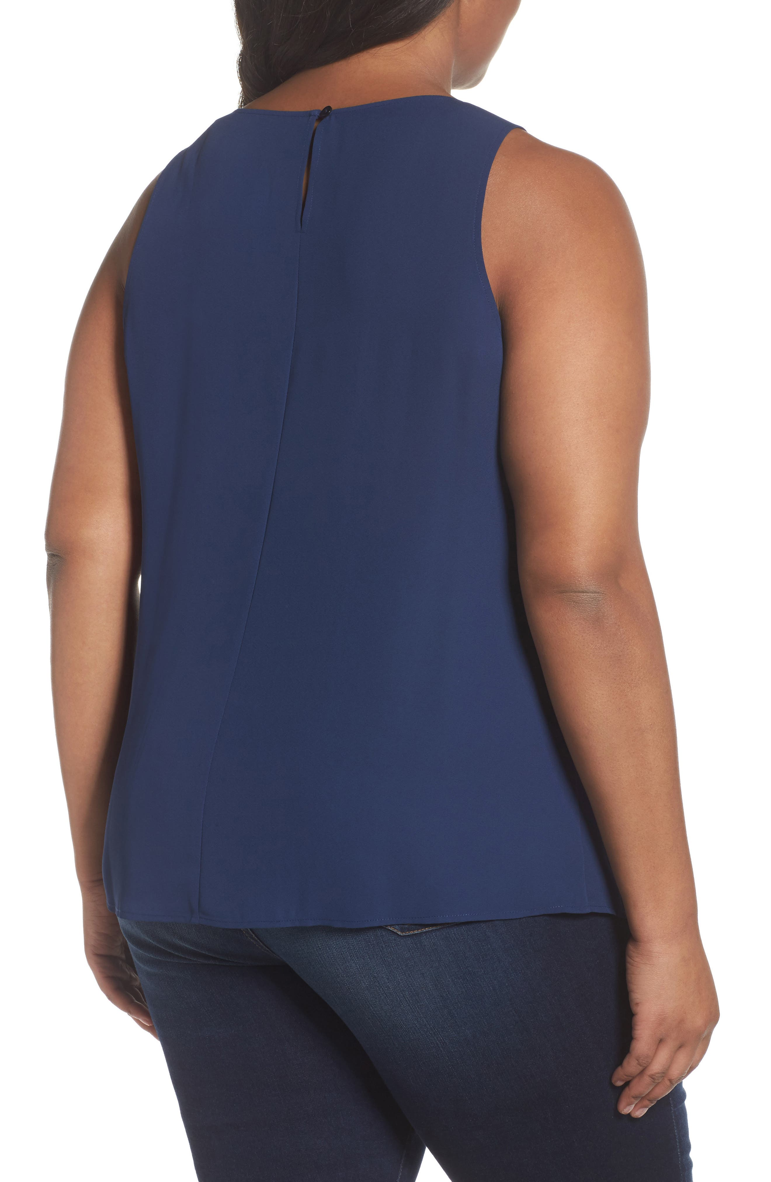 Asymmetrical Pleat Front Shell,                             Alternate thumbnail 3, color,                             Navy Medieval