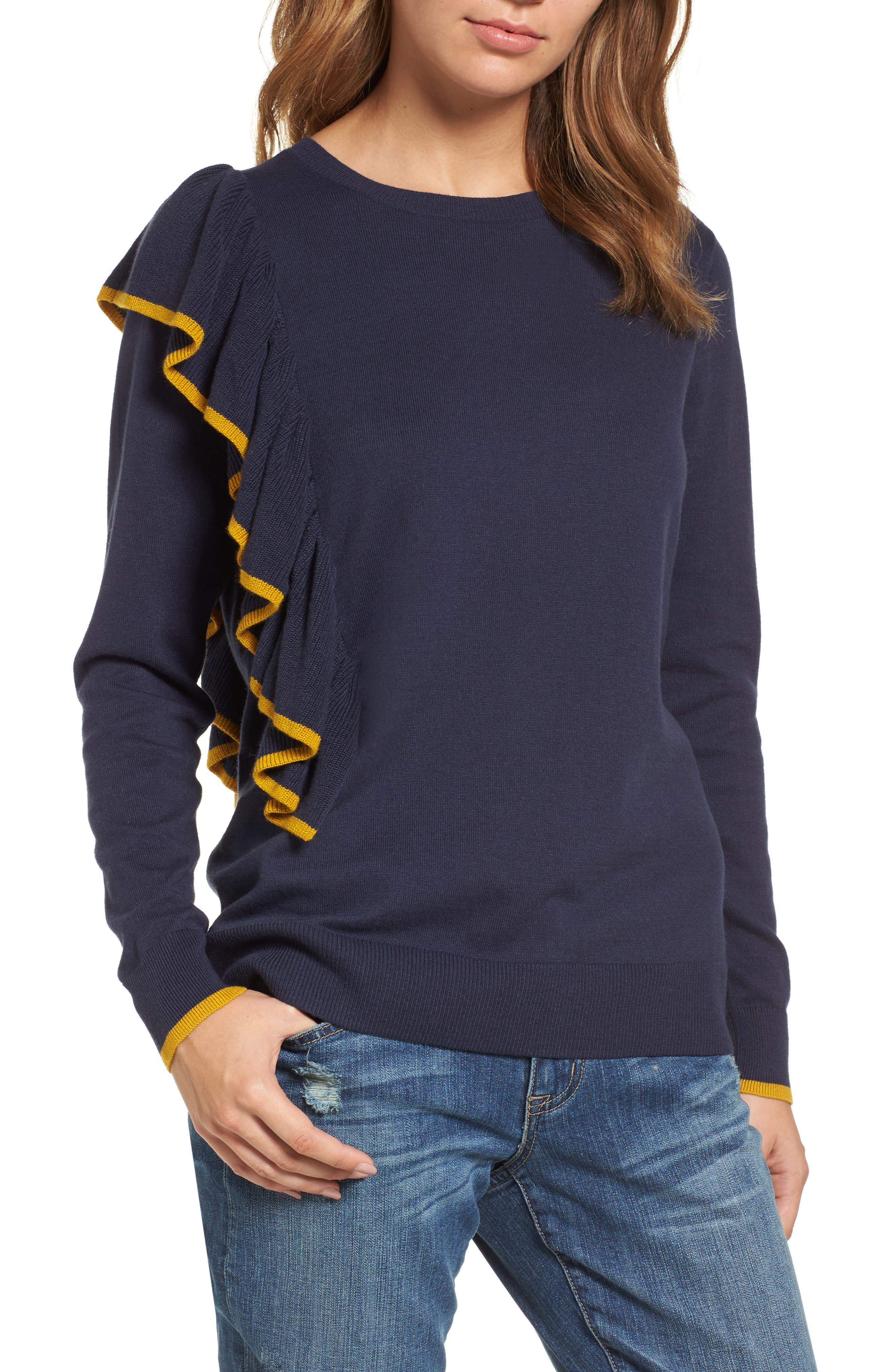 Asymmetrical Ruffle Sweater,                         Main,                         color, Navy Peacoat