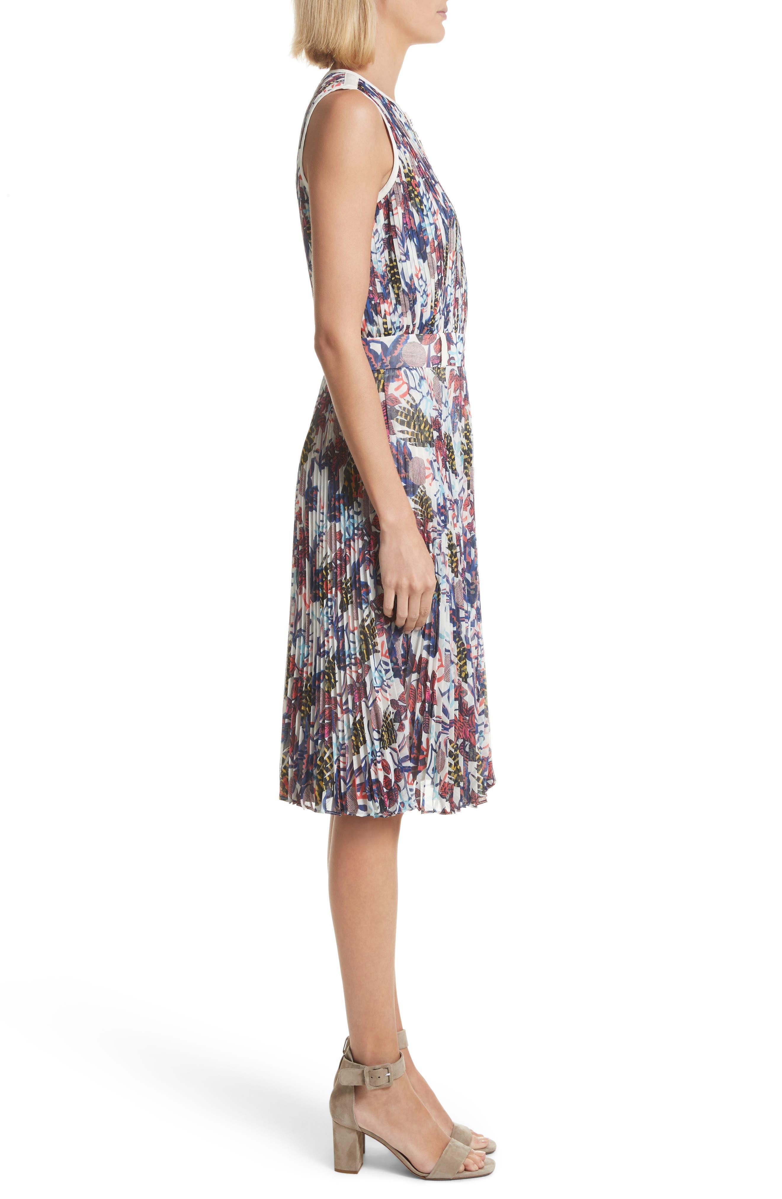 Print Pleated Chiffon Dress,                             Alternate thumbnail 3, color,                             Cream Multi