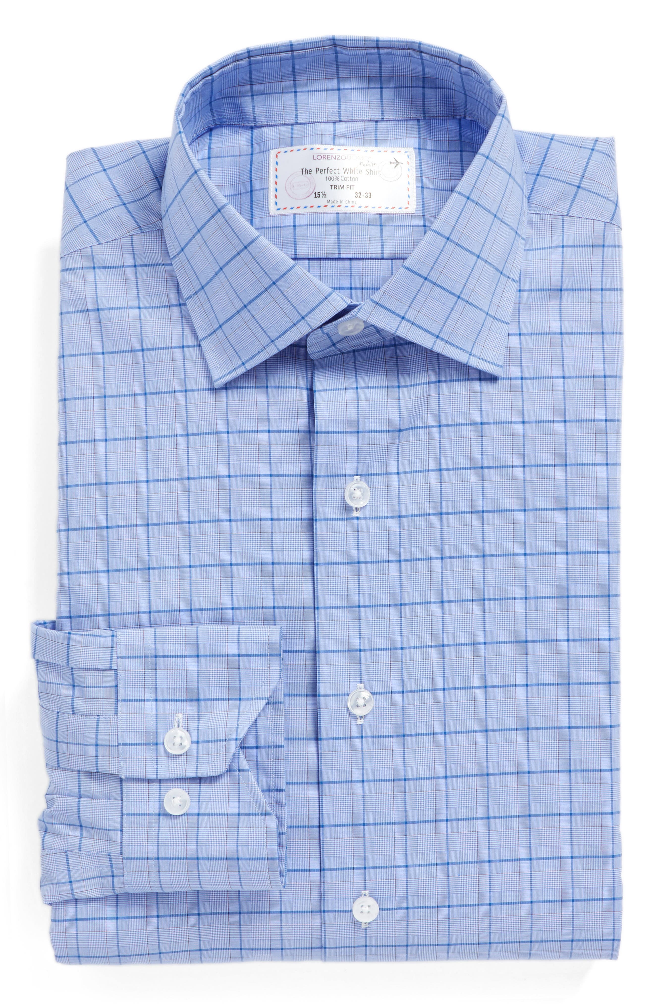 Main Image - Lorenzo Uomo Trim Fit Plaid Dress Shirt