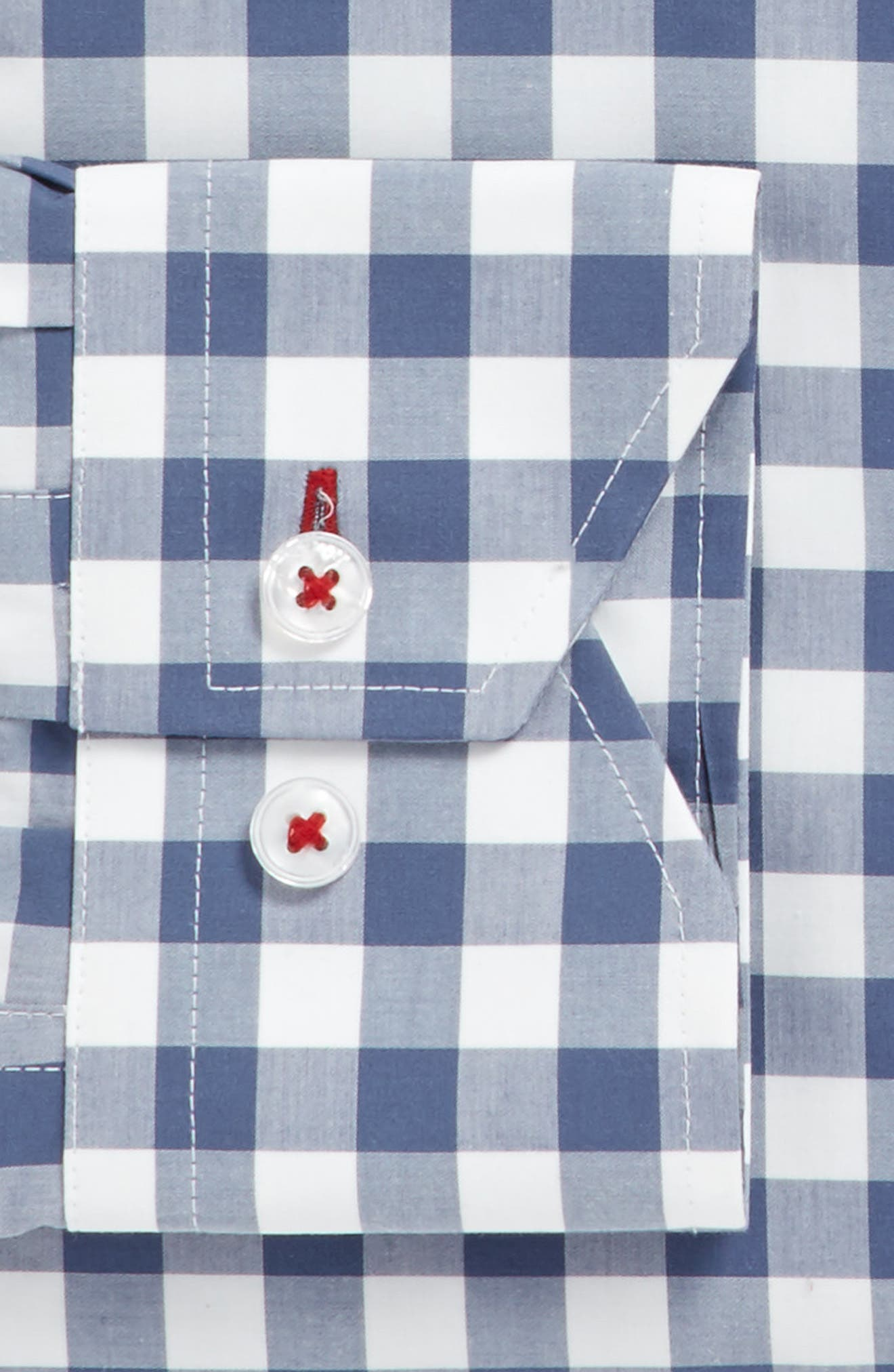Trim Fit Check Dress Shirt,                             Alternate thumbnail 3, color,                             Navy/ Grey