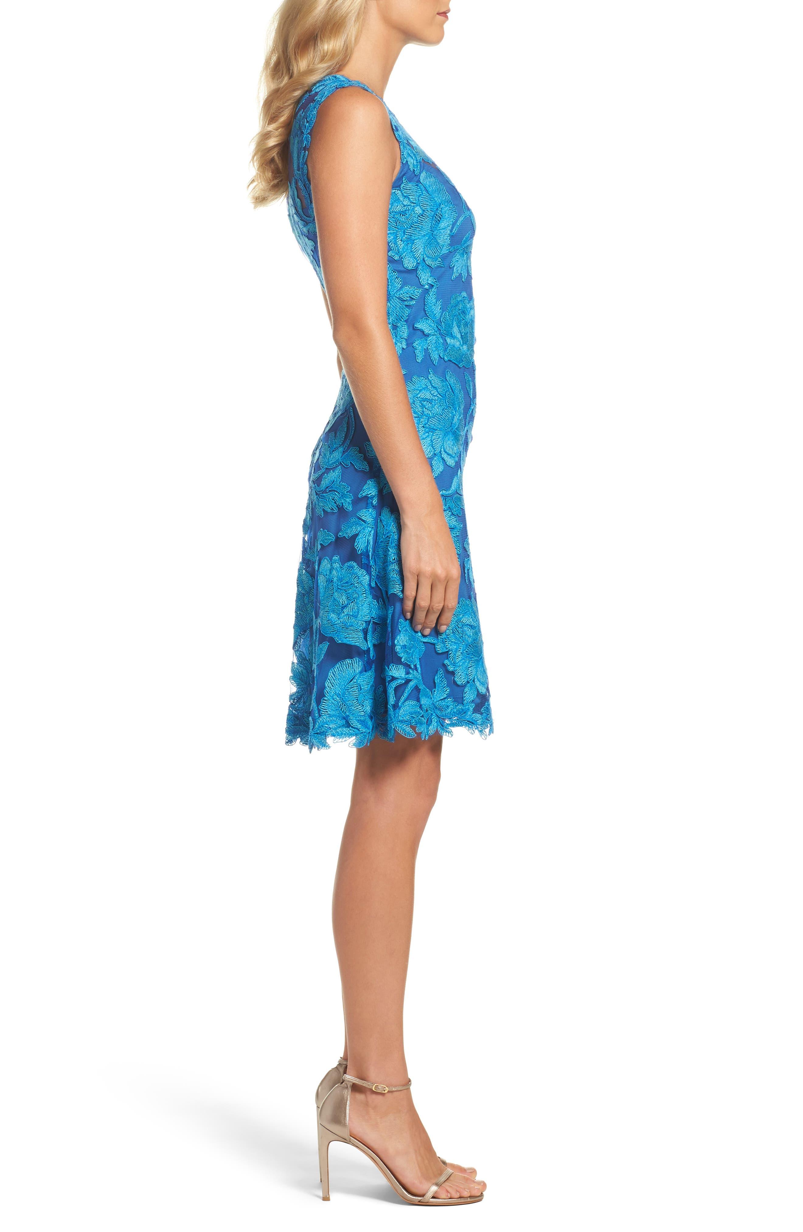 Noelle Floral Fit & Flare Dress,                             Alternate thumbnail 3, color,                             Blue Topaz