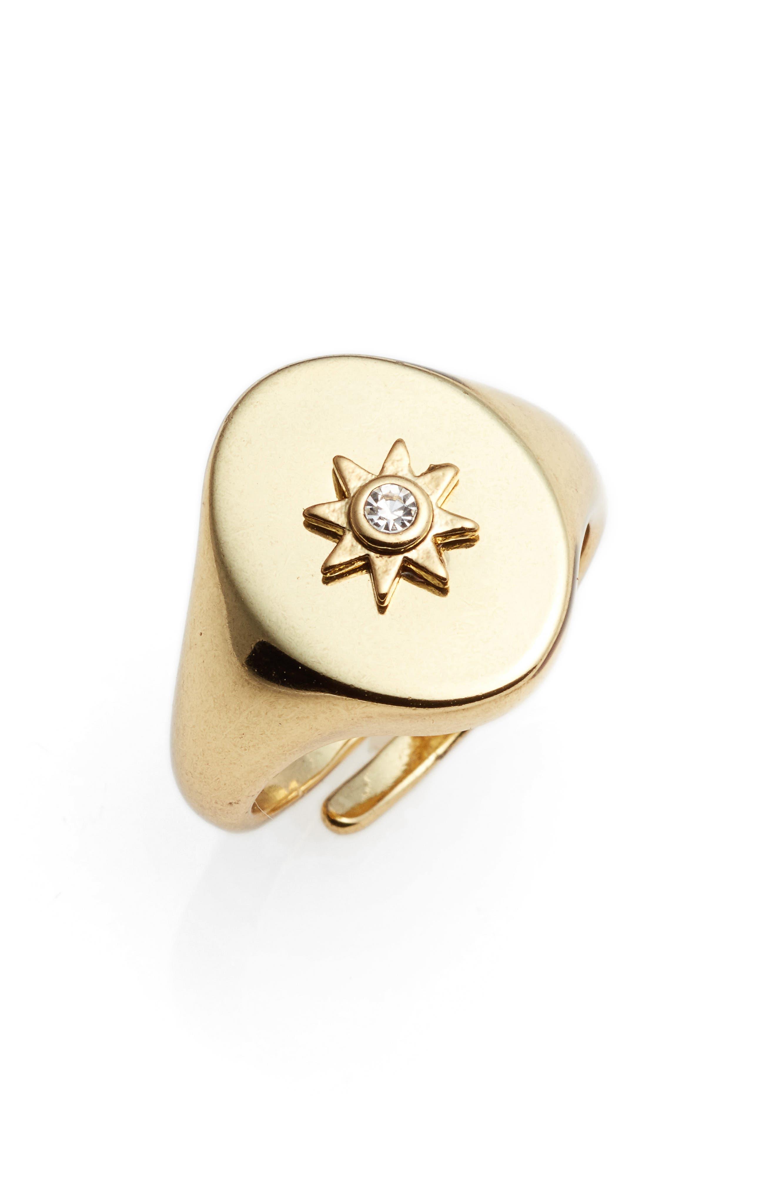 Revel Starburst Signet Ring,                             Alternate thumbnail 6, color,                             Gold