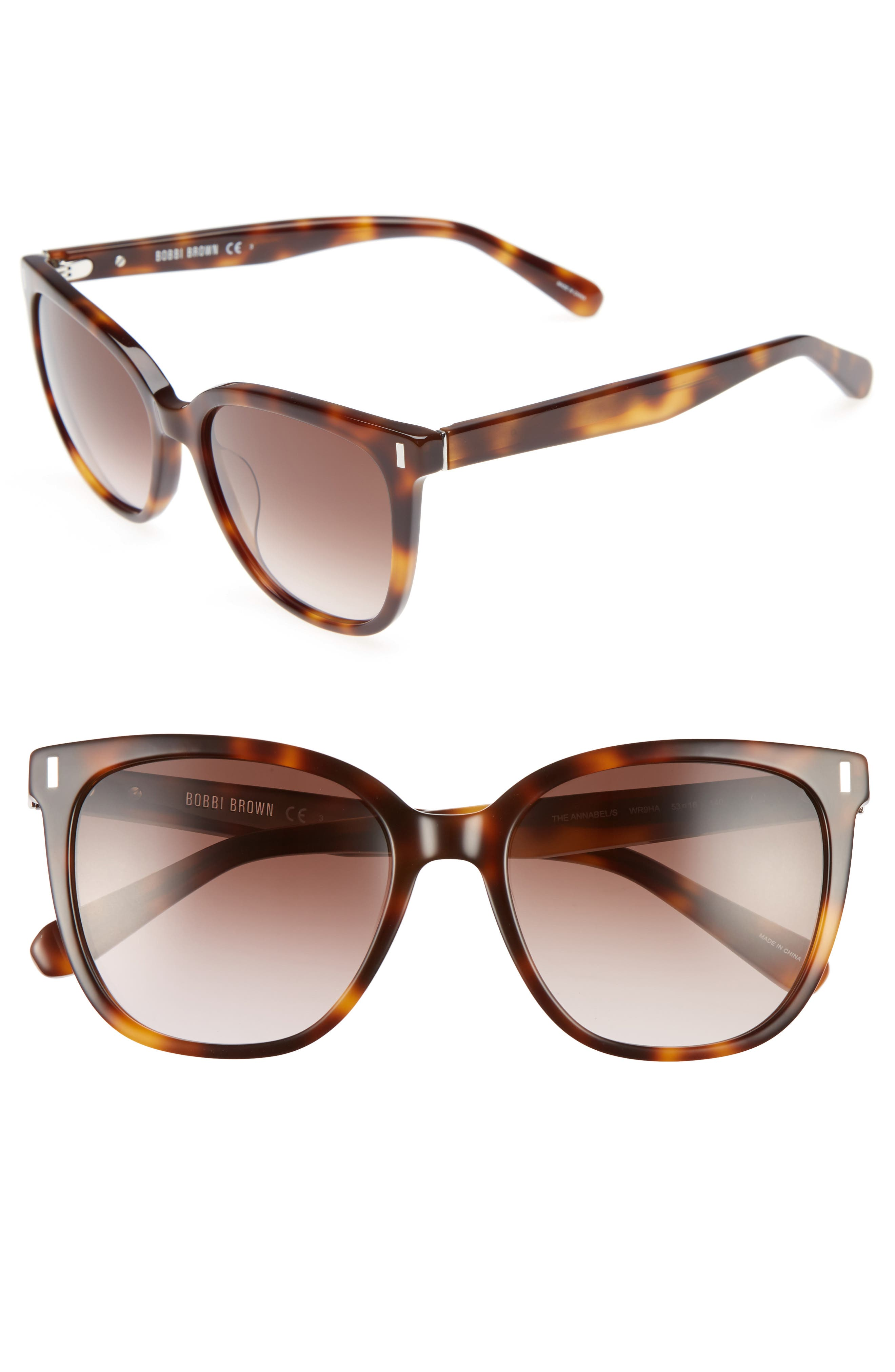 The Annabel 53mm Cat Eye Sunglasses,                         Main,                         color, Brown Havana