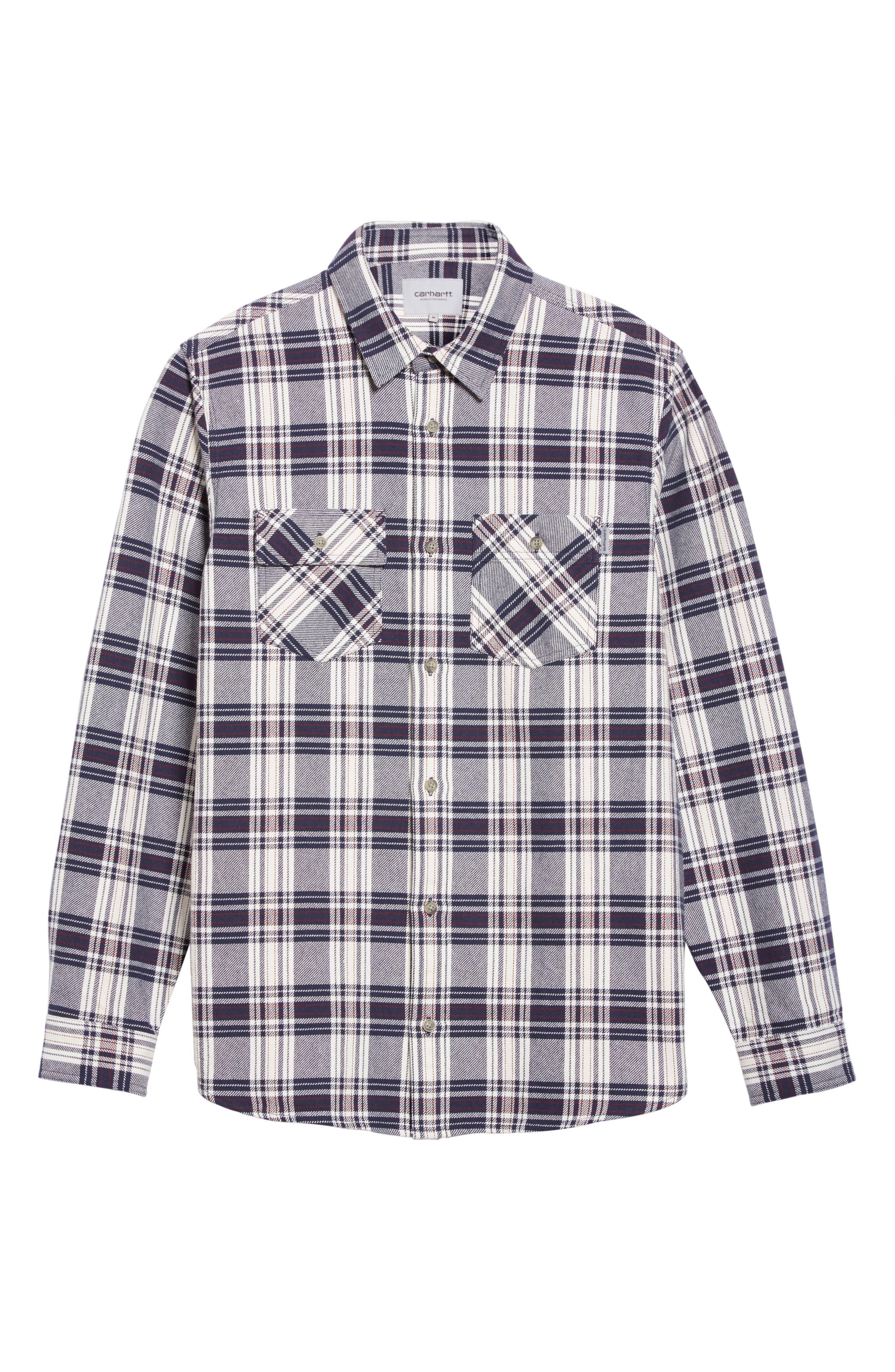 Twill Flannel Shirt,                             Alternate thumbnail 6, color,                             Snow/ Blue