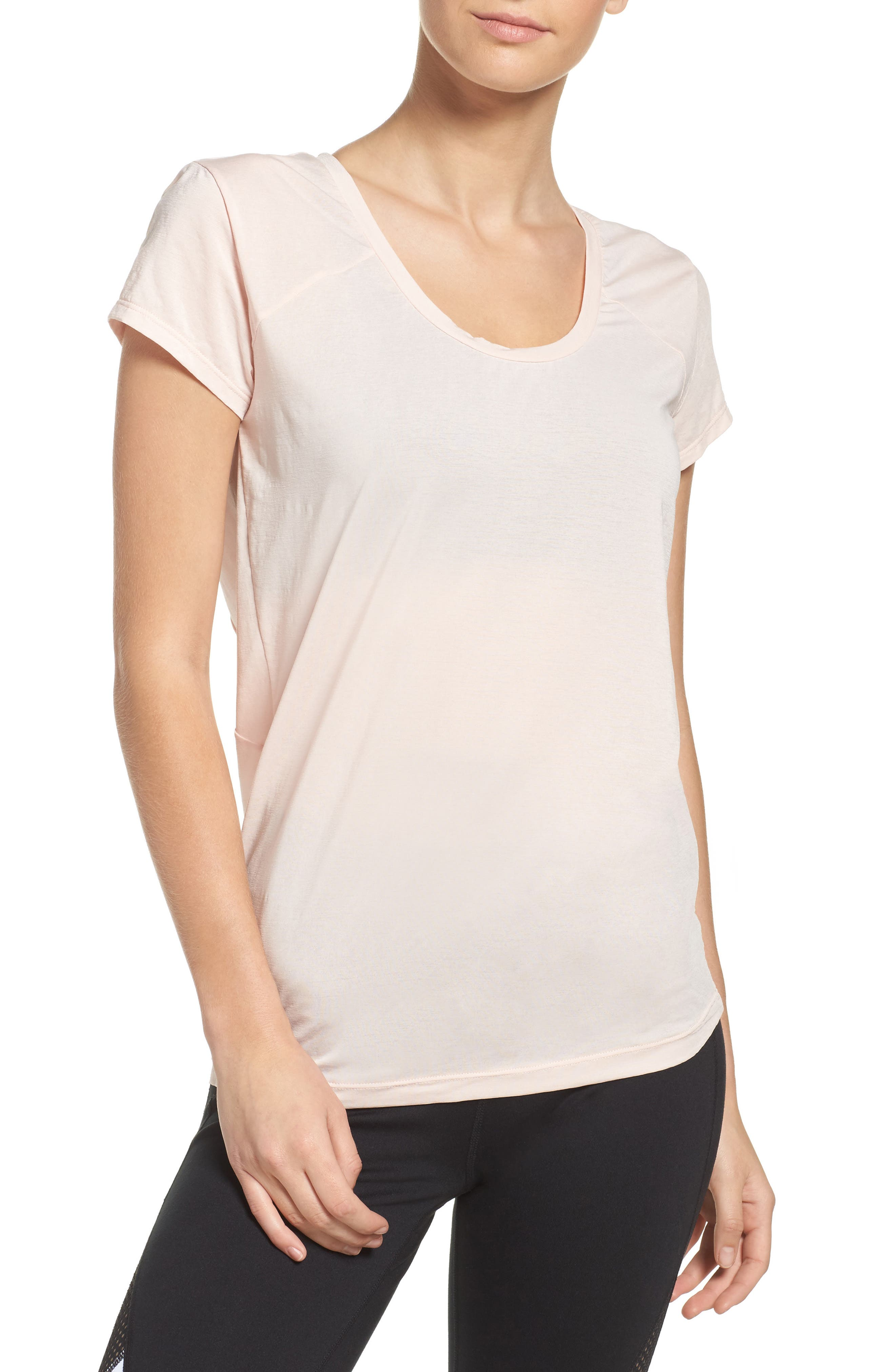 Barre Babe Tee,                         Main,                         color, Pink Wood