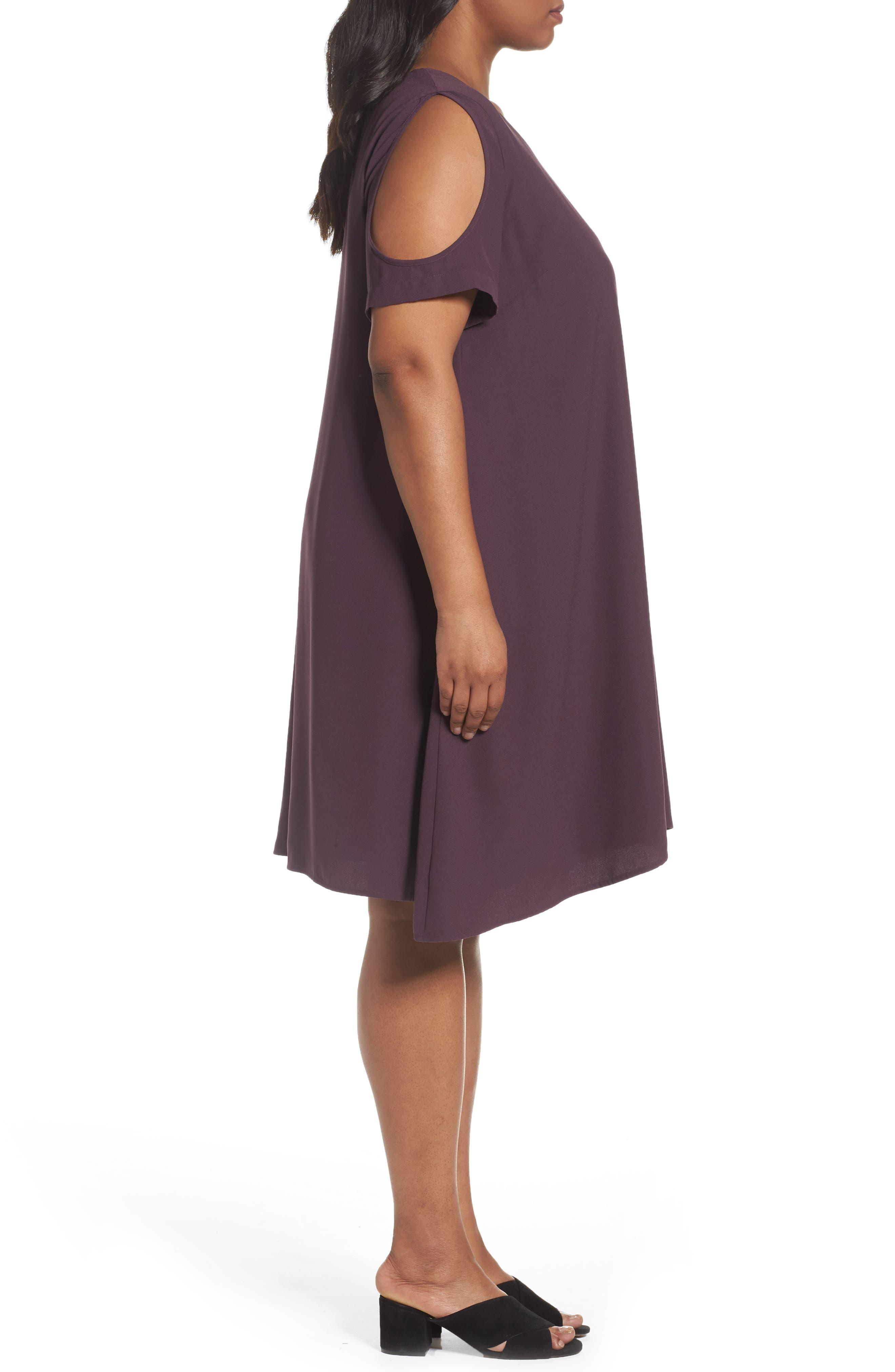Cold Shoulder Swing Dress,                             Alternate thumbnail 3, color,                             Purple Plum