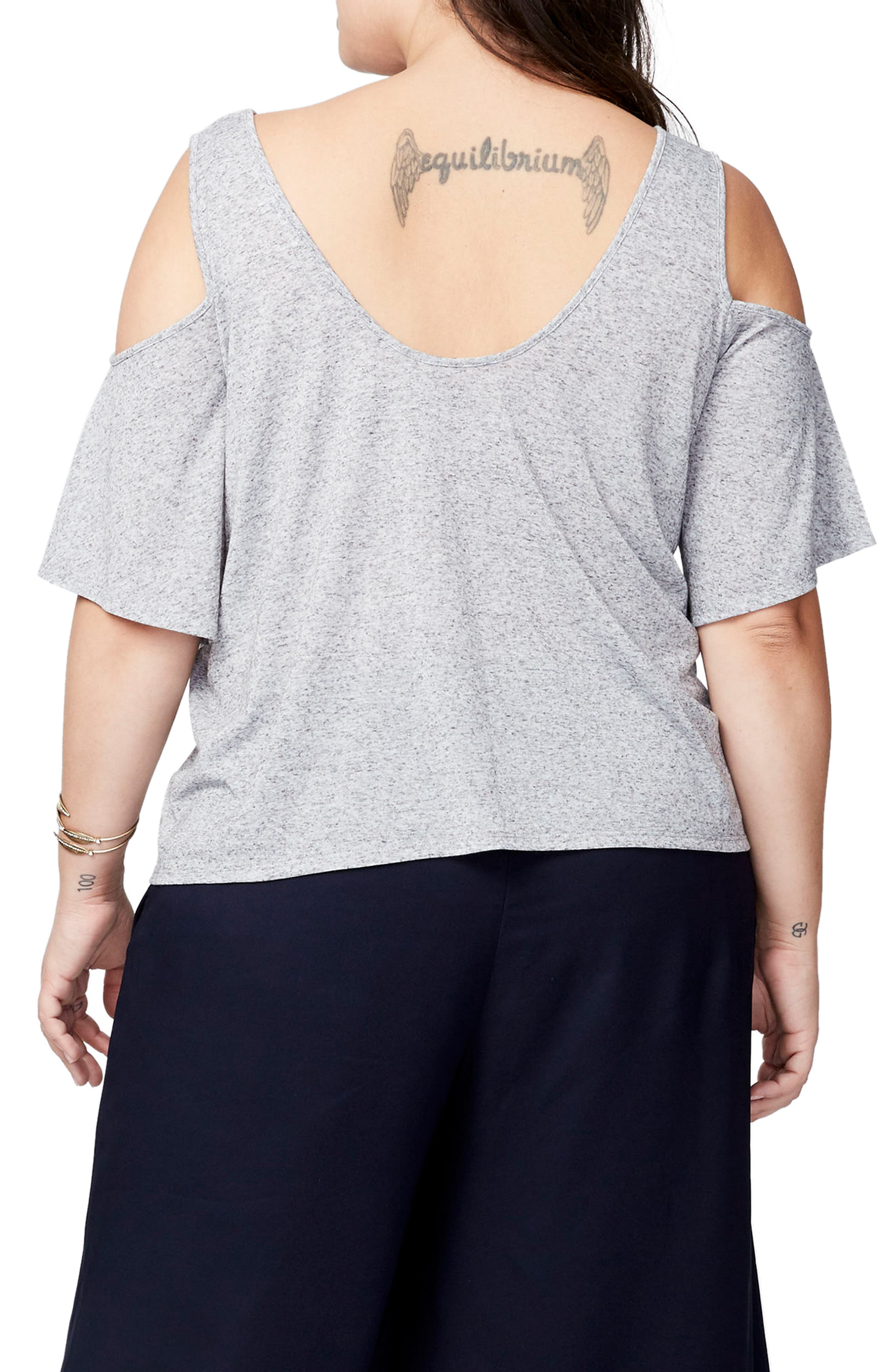 Cold Shoulder Bell Top,                             Alternate thumbnail 2, color,                             Heather Grey