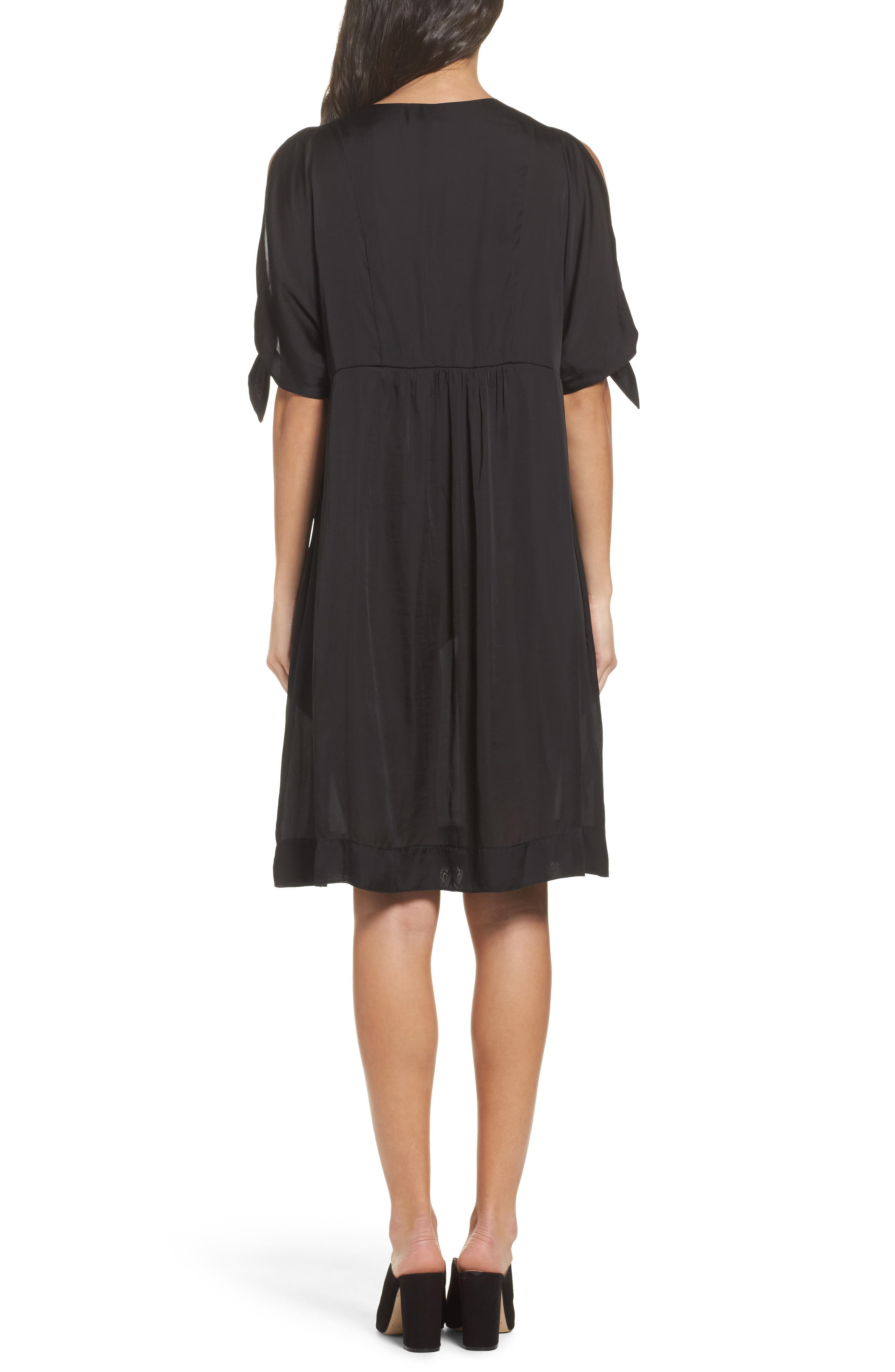 Split Sleeve Dress,                             Alternate thumbnail 2, color,                             Black