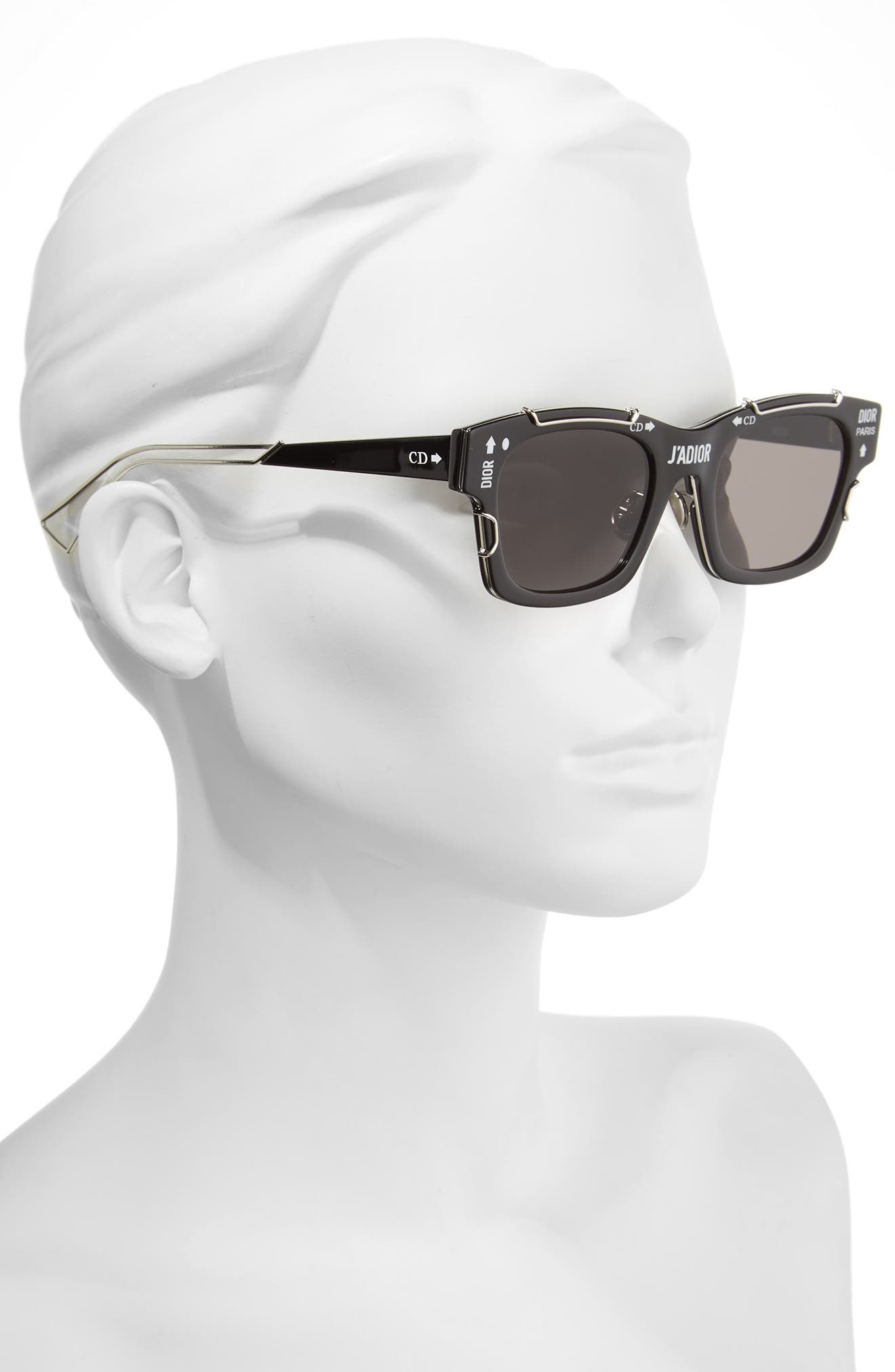 J'Adior 51mm Sunglasses,                             Alternate thumbnail 2, color,                             Black/ Palladium