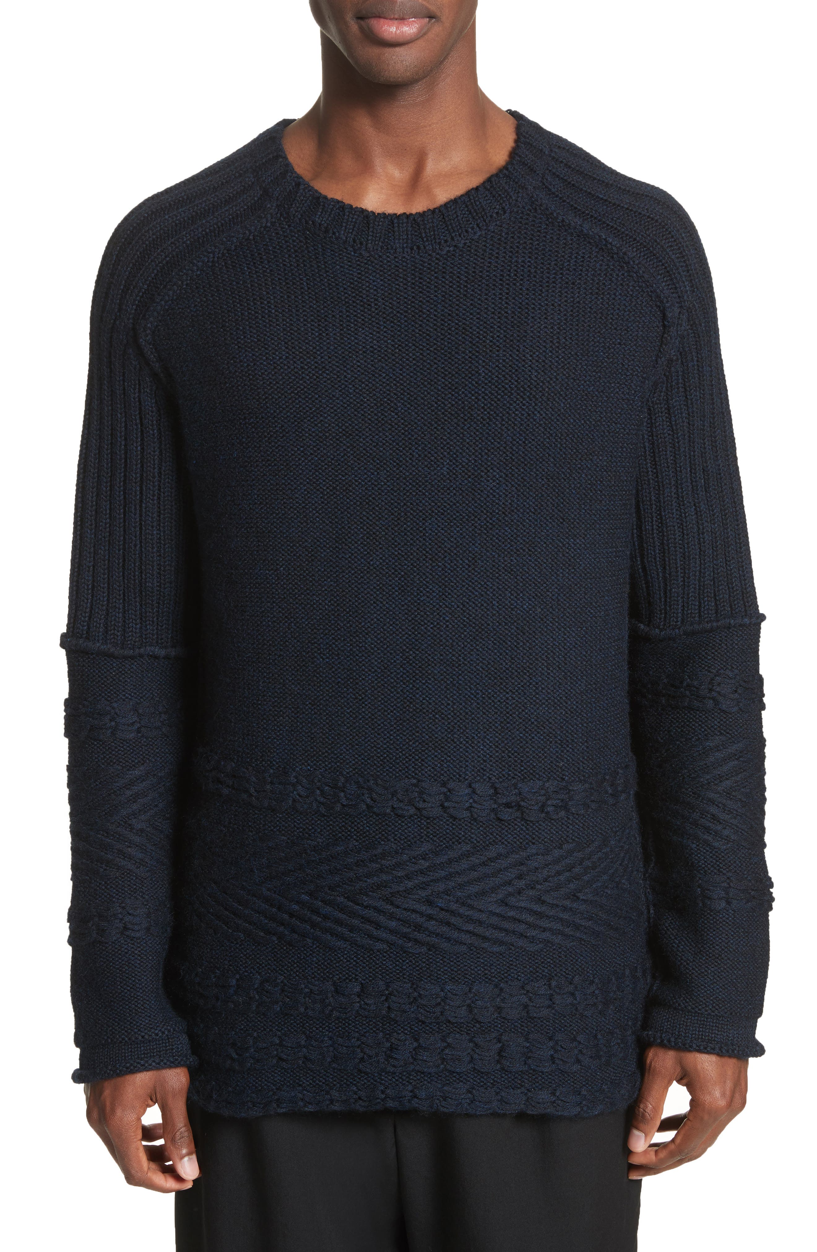 Mixed Knit Wool Sweater,                         Main,                         color, Navy